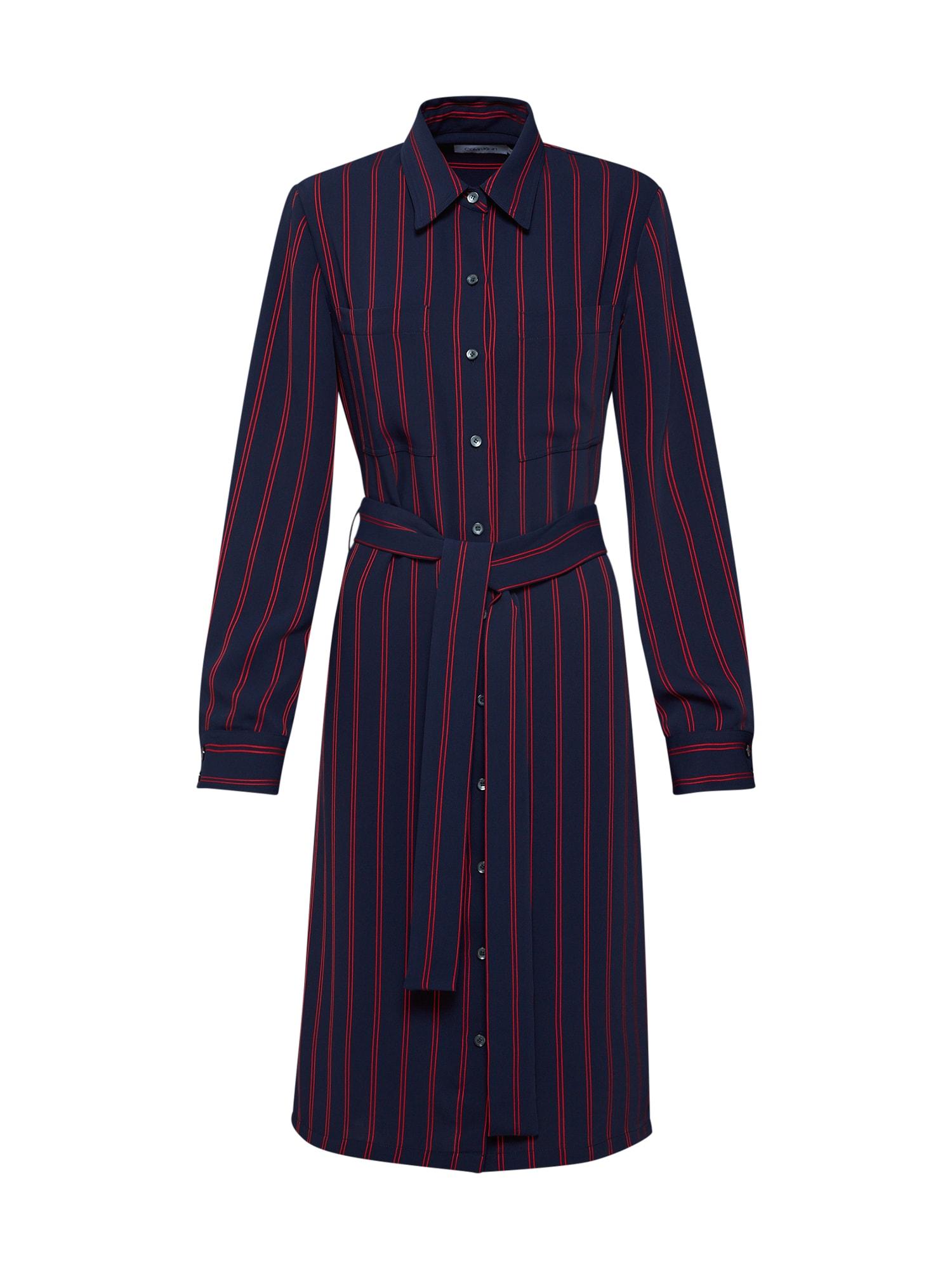 Calvin Klein Palaidinės tipo suknelė 'FLUID STP SHIRT DRESS LS' tamsiai mėlyna / raudona
