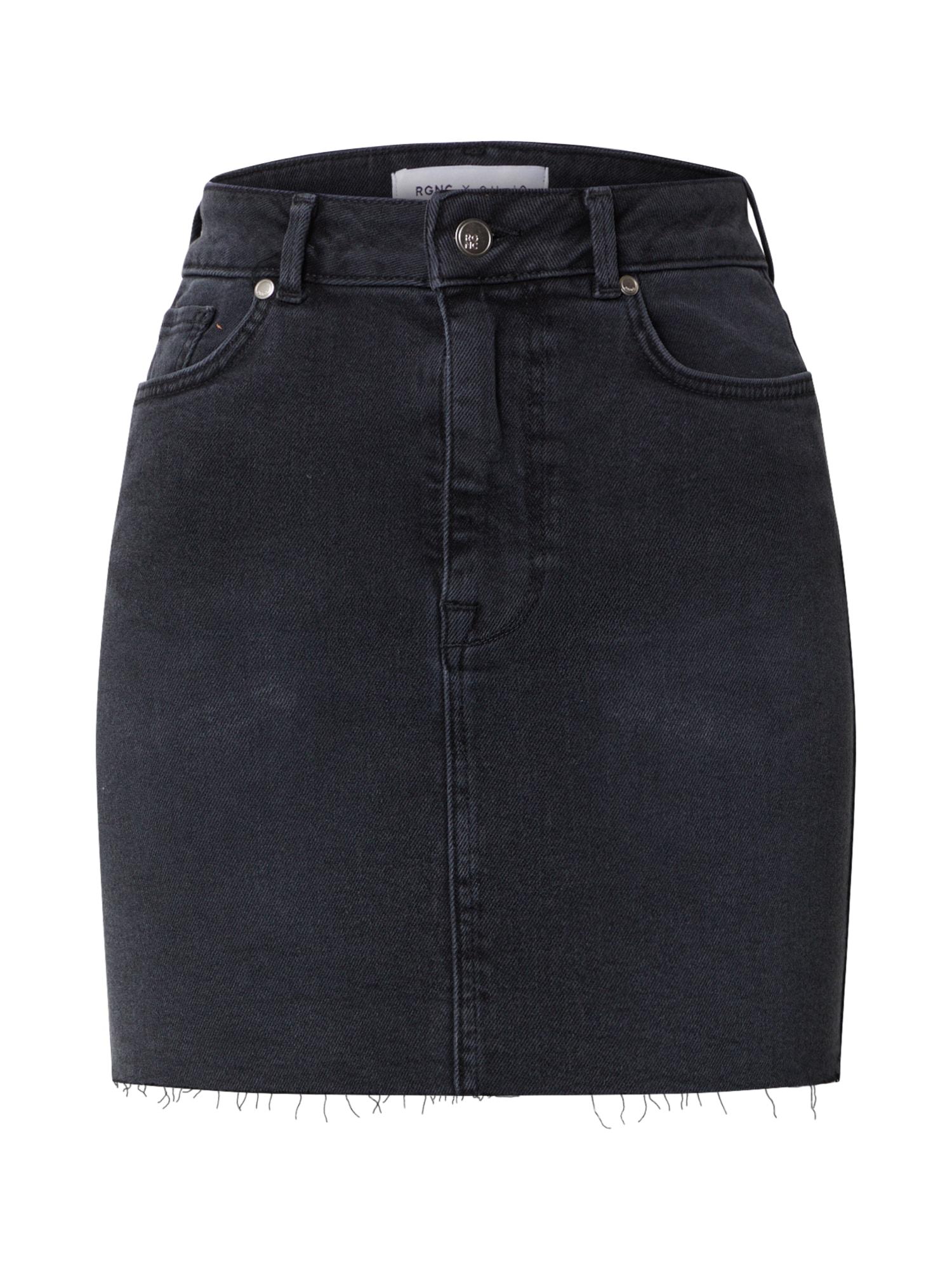 NU-IN Szoknyák 'High Rise Raw Hem Denim Skirt'  fekete farmer