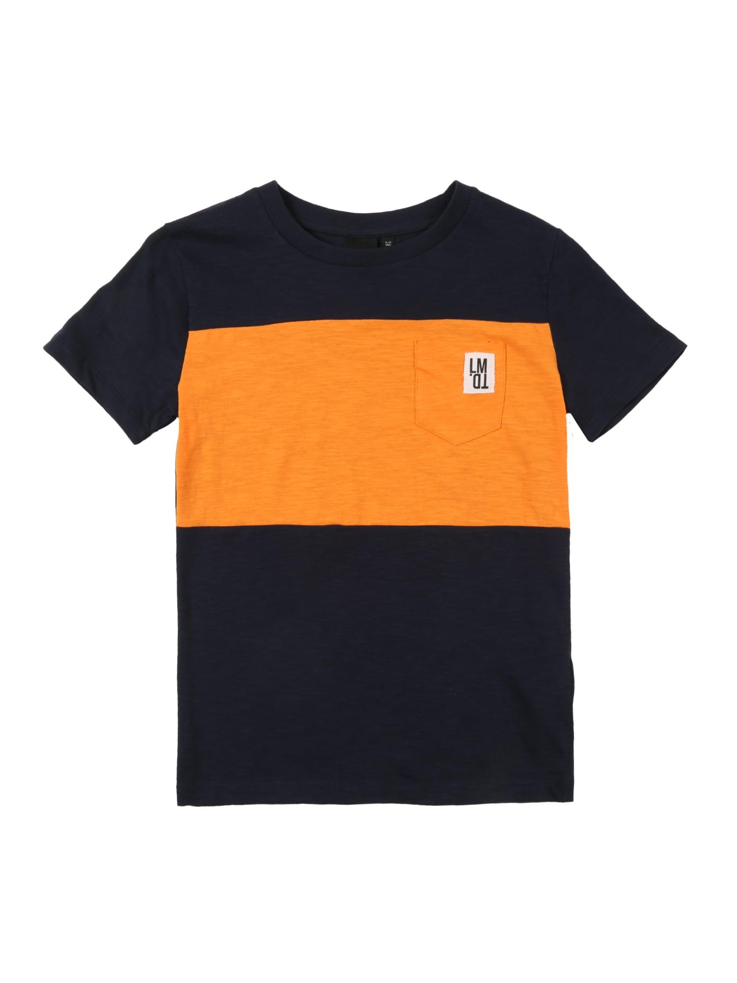 Tričko noční modrá jasně oranžová NAME IT