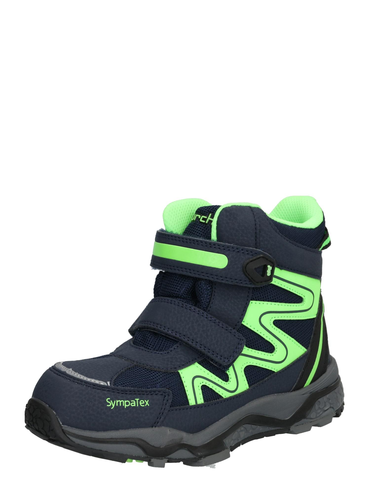 LURCHI Auliniai batai su kulniuku 'LARGO-SYMPATEX' tamsiai mėlyna / neoninė geltona