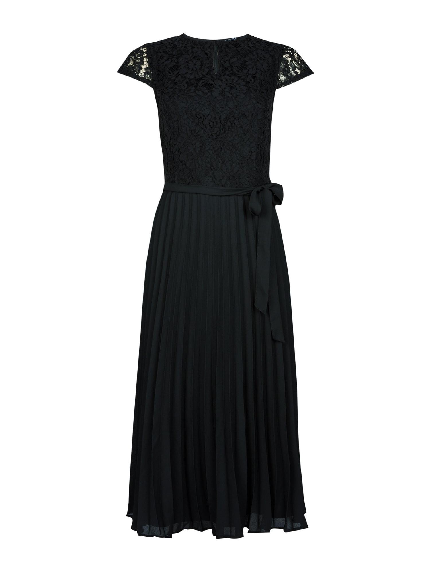 Dorothy Perkins Kokteilinė suknelė 'BLACK LACE PLEAT MIDI DRESS' juoda