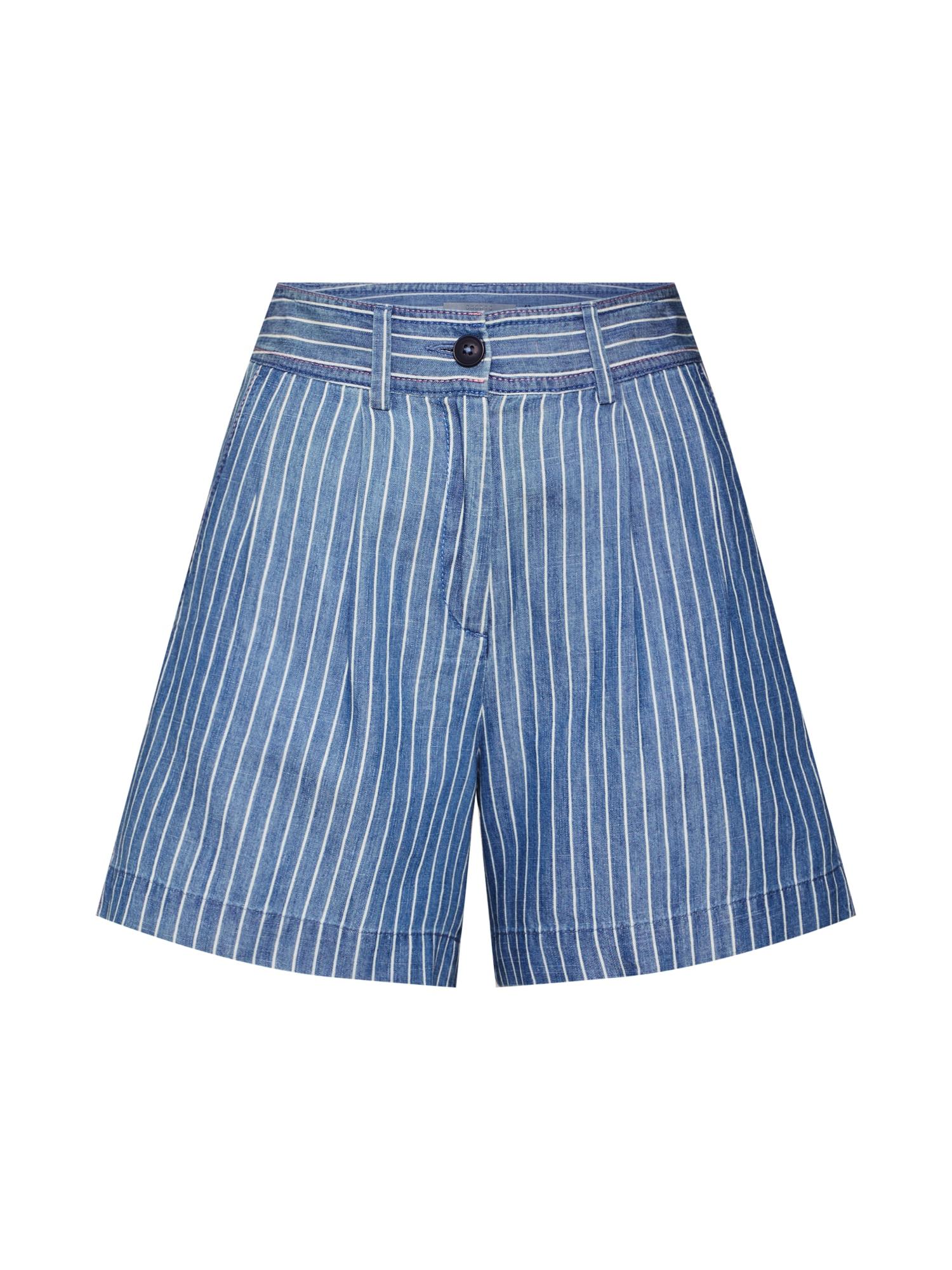 EDC BY ESPRIT Klostuotos kelnės tamsiai (džinso) mėlyna / balta