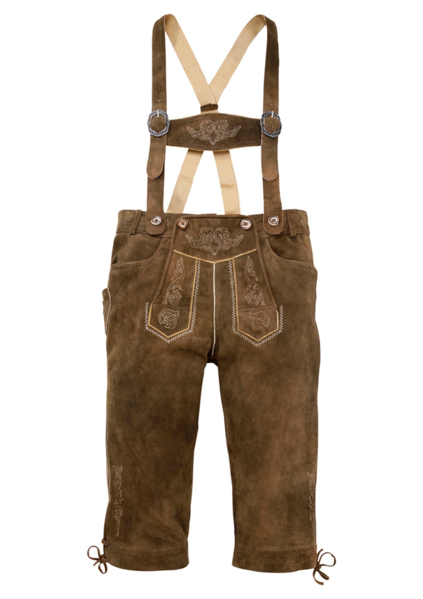 MARJO Kelnės su tradiciniais raštais ruda