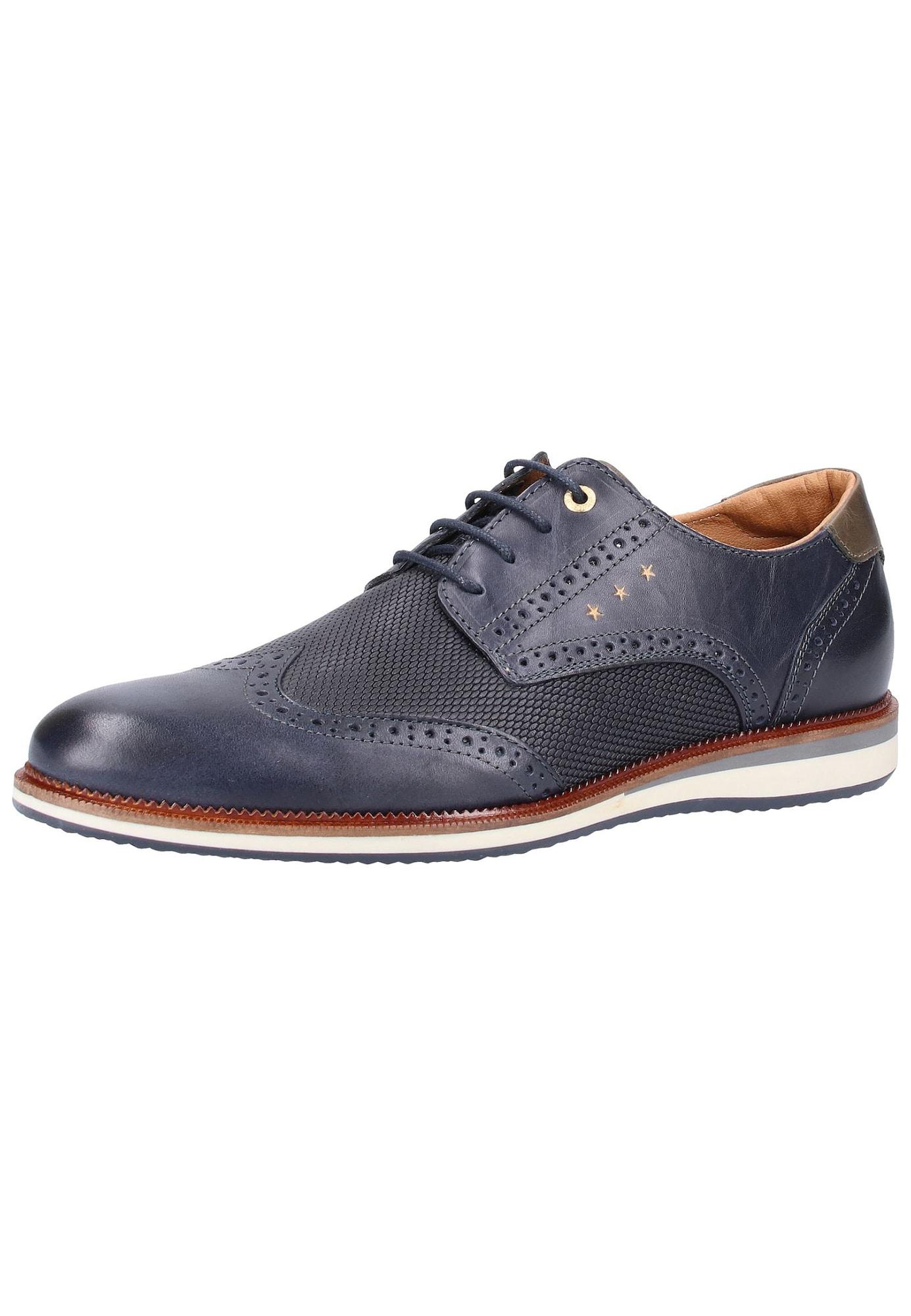 PANTOFOLA DORO Šněrovací boty námořnická modř brokátová offwhite PANTOFOLA D'ORO