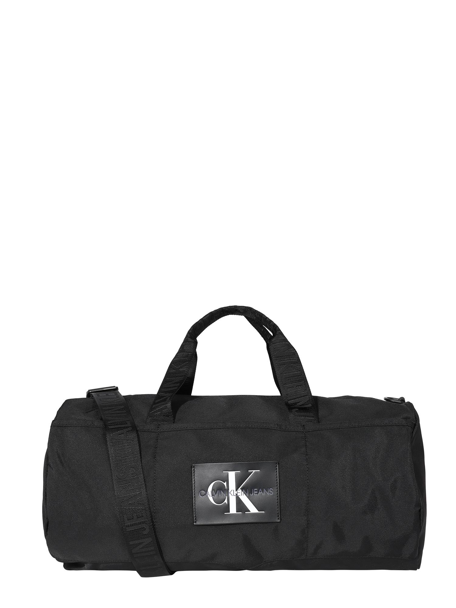 Calvin Klein Jeans Savaitgalio krepšys juoda / balta