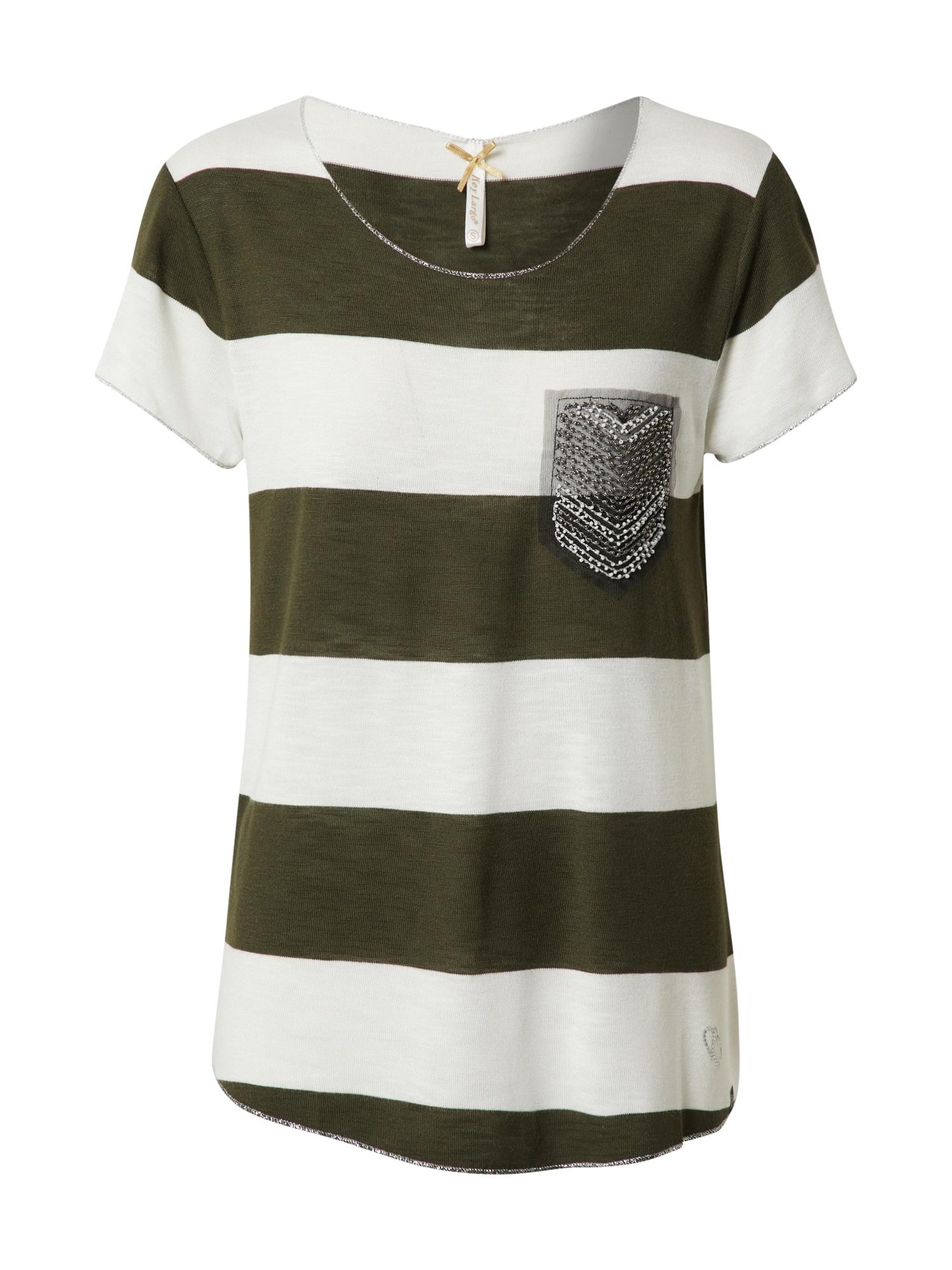 Key Largo Marškinėliai 'JANA' rusvai žalia / balkšva