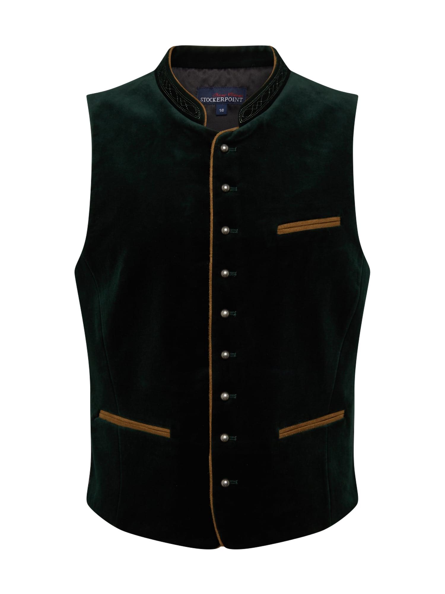 STOCKERPOINT Dalykinio stiliaus liemenė 'Ricardo' tamsiai žalia / medaus spalva / tamsiai pilka / perlų balta