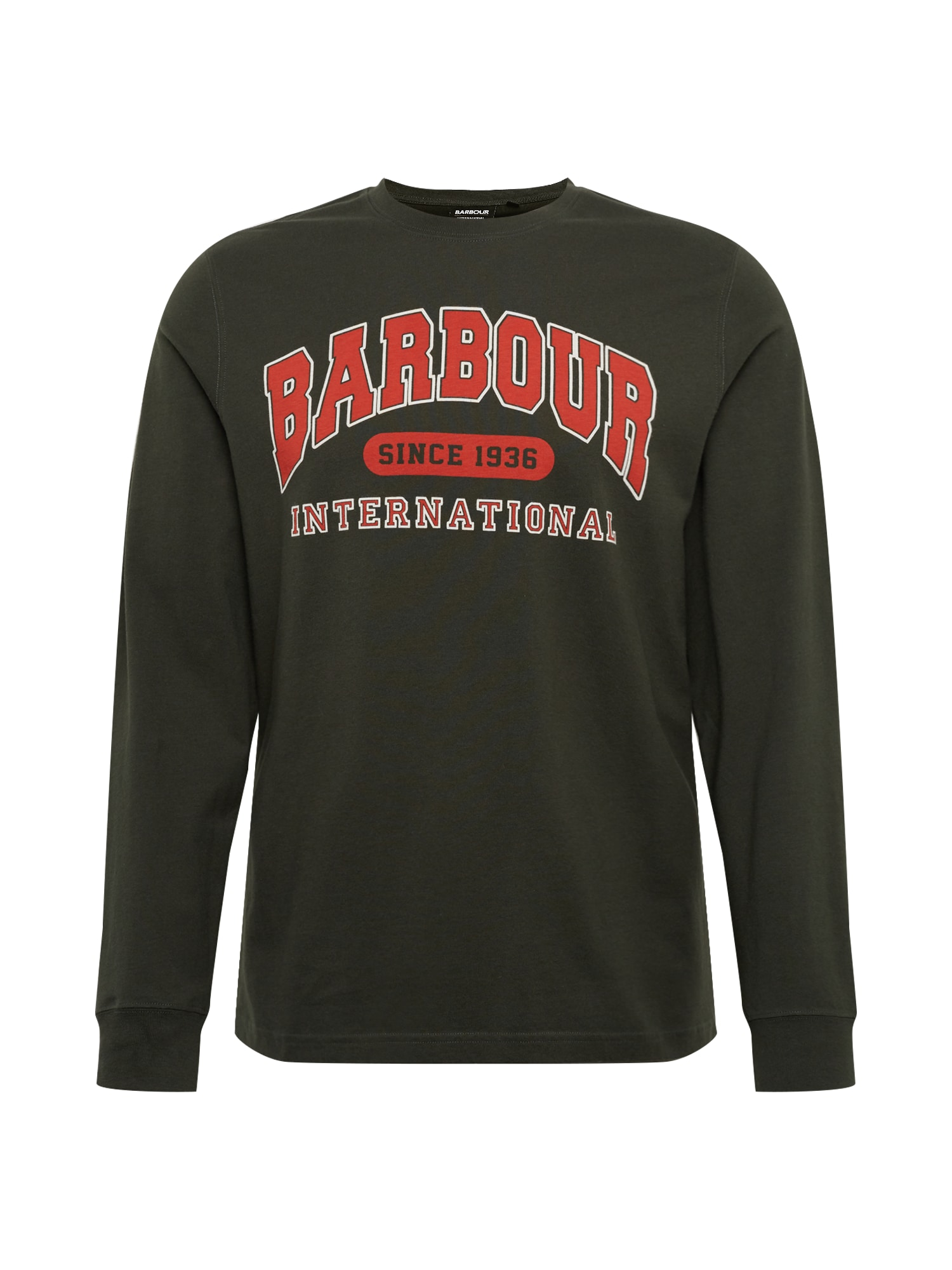 Barbour International Marškinėliai 'Collegiate' alyvuogių spalva / šviesiai raudona