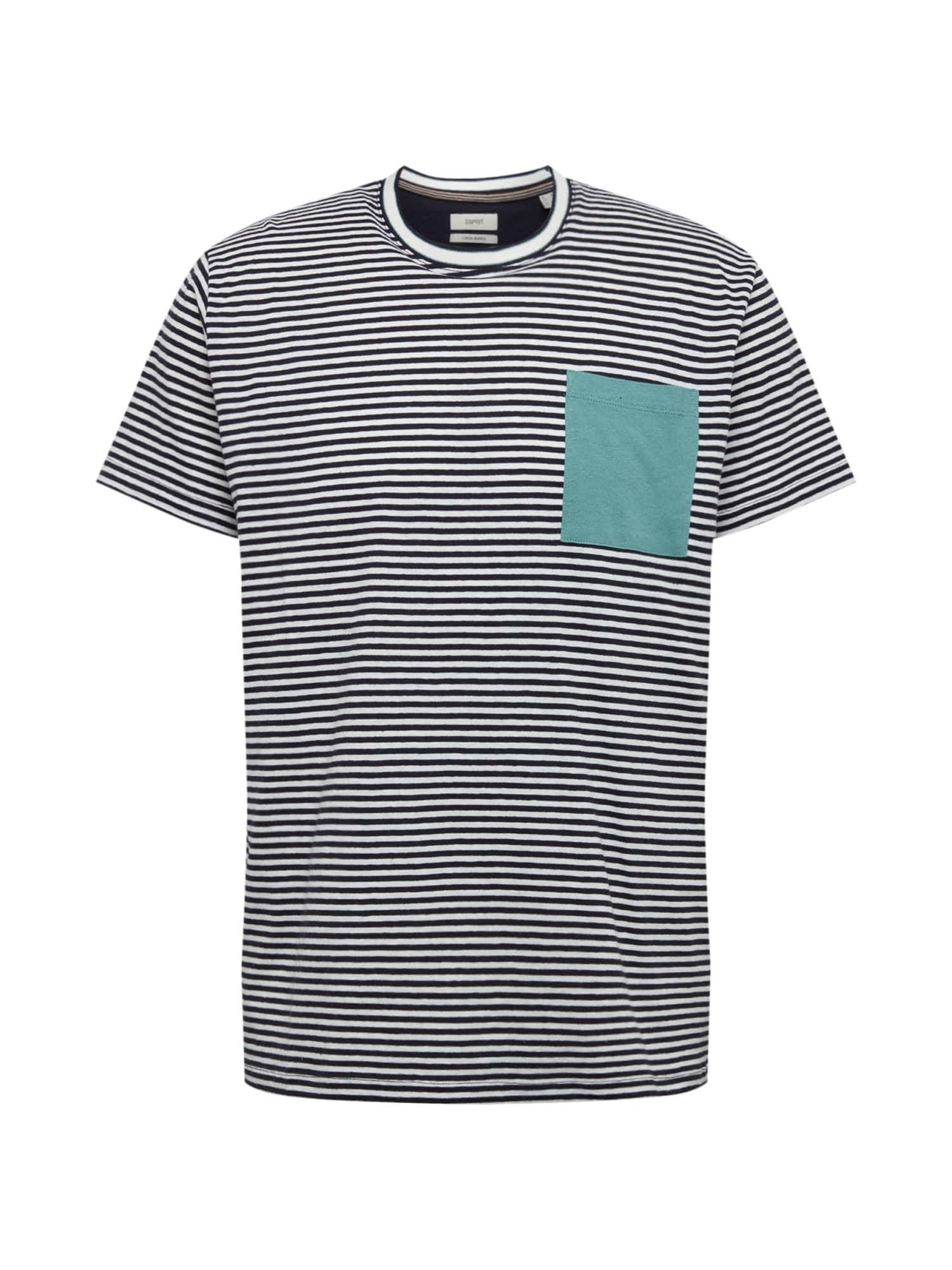 ESPRIT Marškinėliai tamsiai mėlyna / balta / turkio spalva
