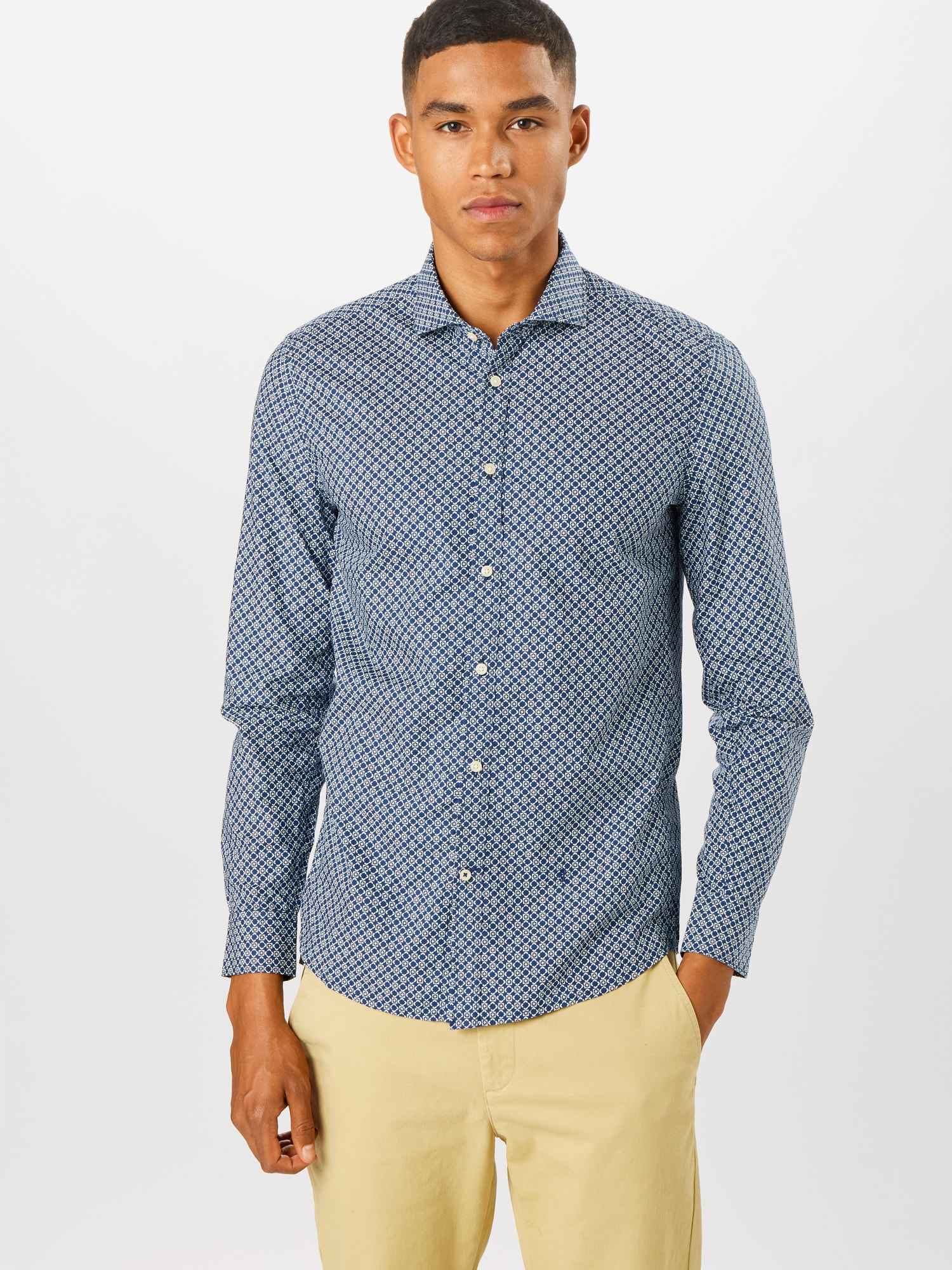 Pepe Jeans Skjorta 'Burton'  vit / marinblå