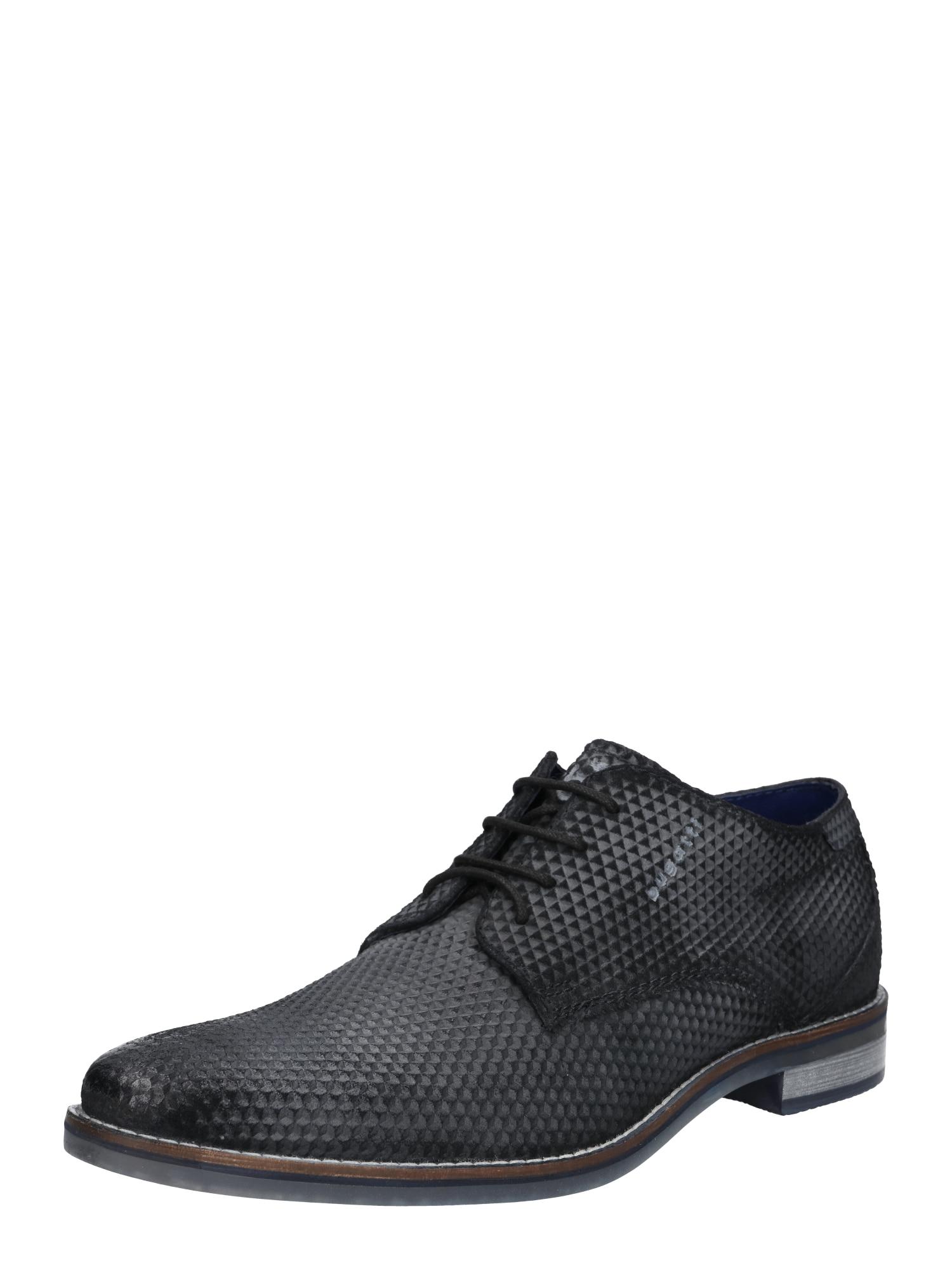 bugatti Šnurovacie topánky 'Gagno'  čierna