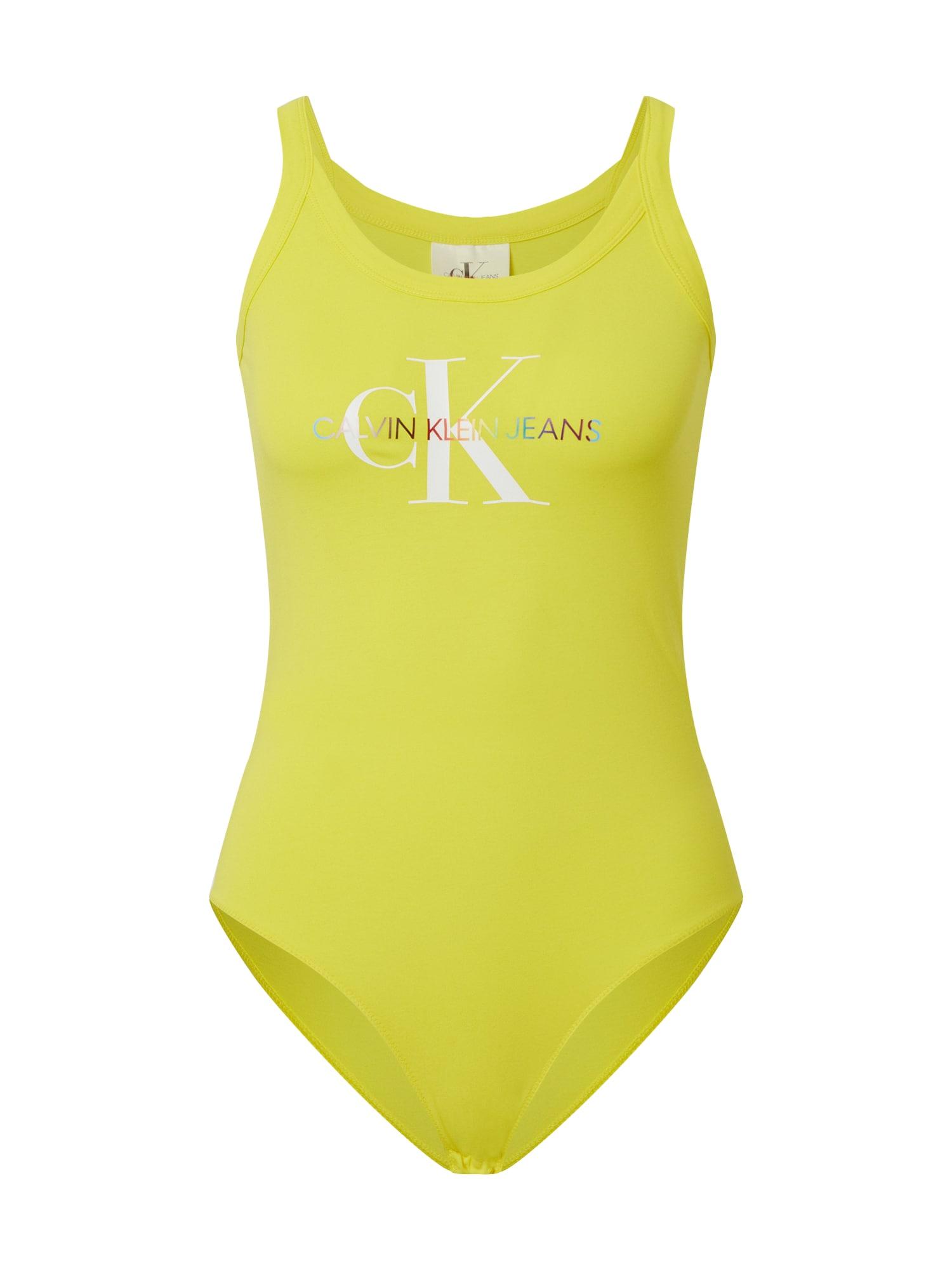 Calvin Klein Jeans Marškinėliai-glaustinukė 'MONOGRAM LOGO BODY' geltona