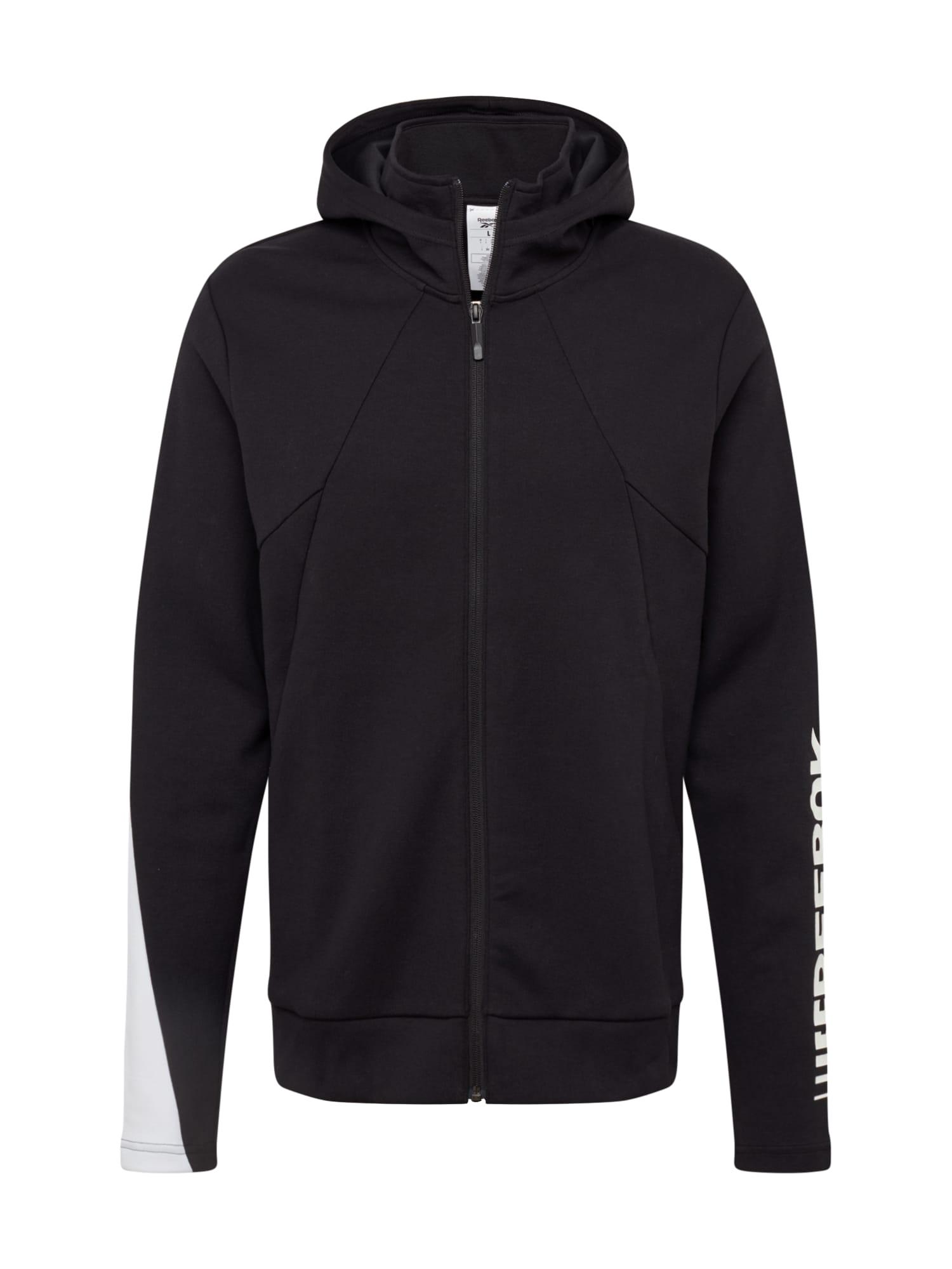REEBOK Sportinis džemperis balta / juoda