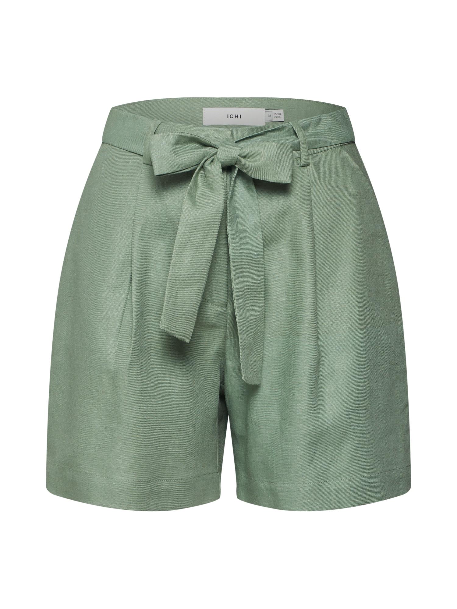 ICHI Klostuotos kelnės žalia