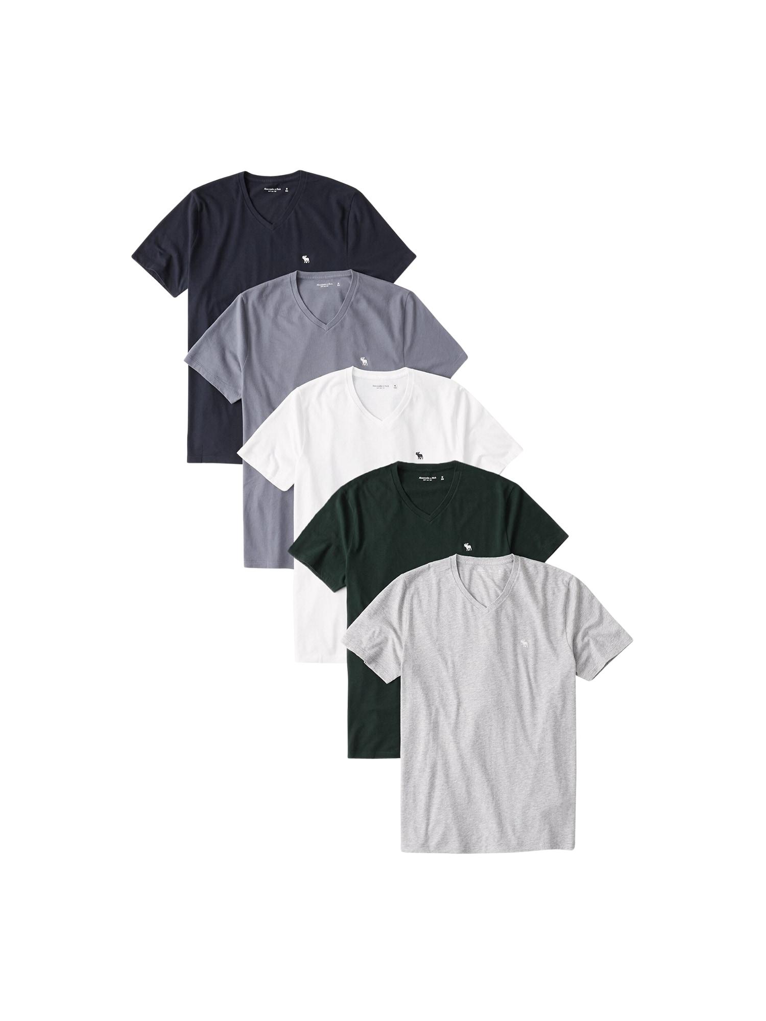 Abercrombie & Fitch Marškinėliai pilka / tamsiai mėlyna / balta / mėlyna / žalia