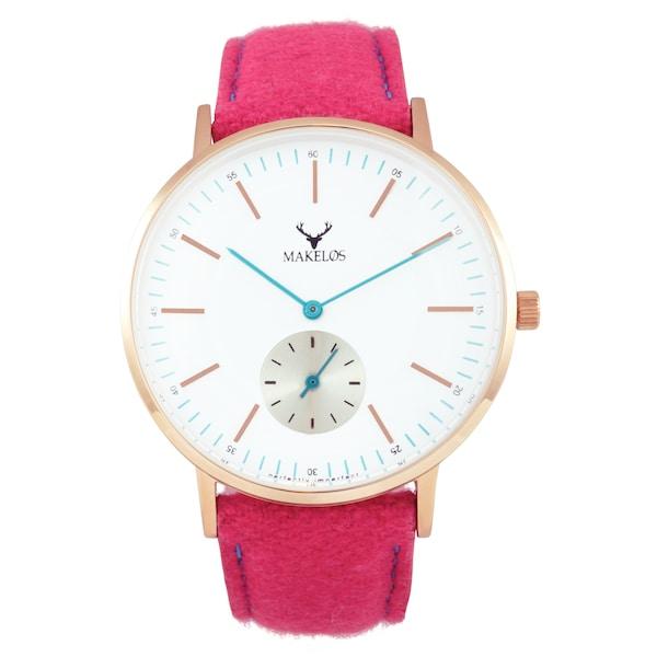 Uhren für Frauen - MAKELØS Armbanduhr 'RØD ROSA' mit Filzband pink  - Onlineshop ABOUT YOU