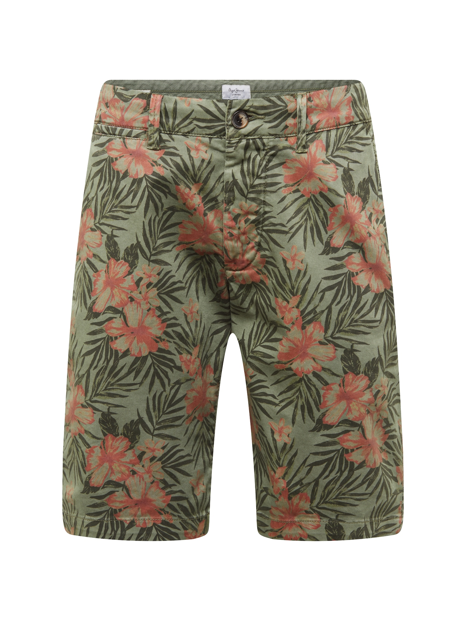 Chino kalhoty MC QUEEN SHORT FLORAL braun oliv Pepe Jeans
