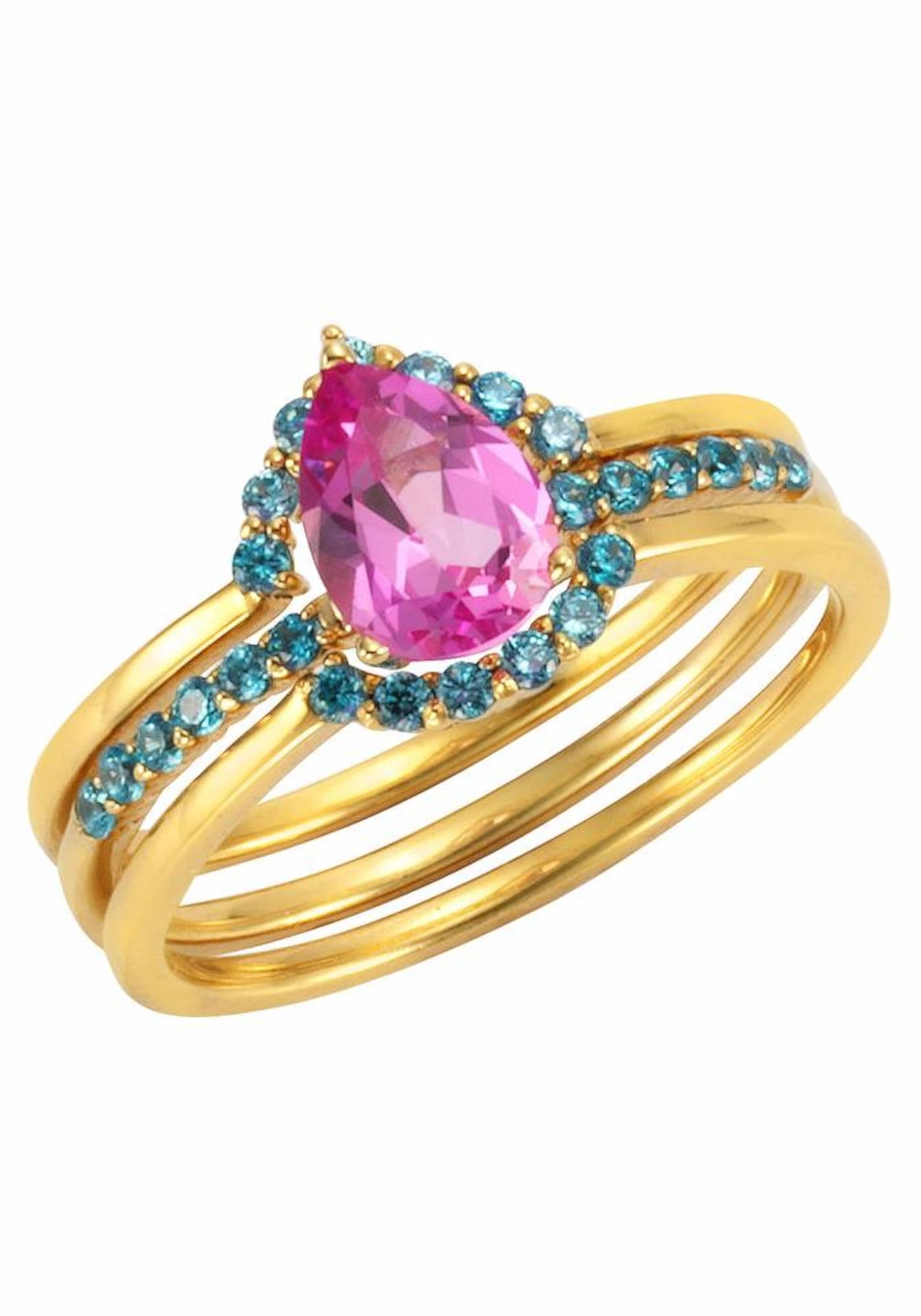 Schmucksets für Frauen - FIRETTI Ring Set (Set, 3 tlg.) aqua gold pink  - Onlineshop ABOUT YOU