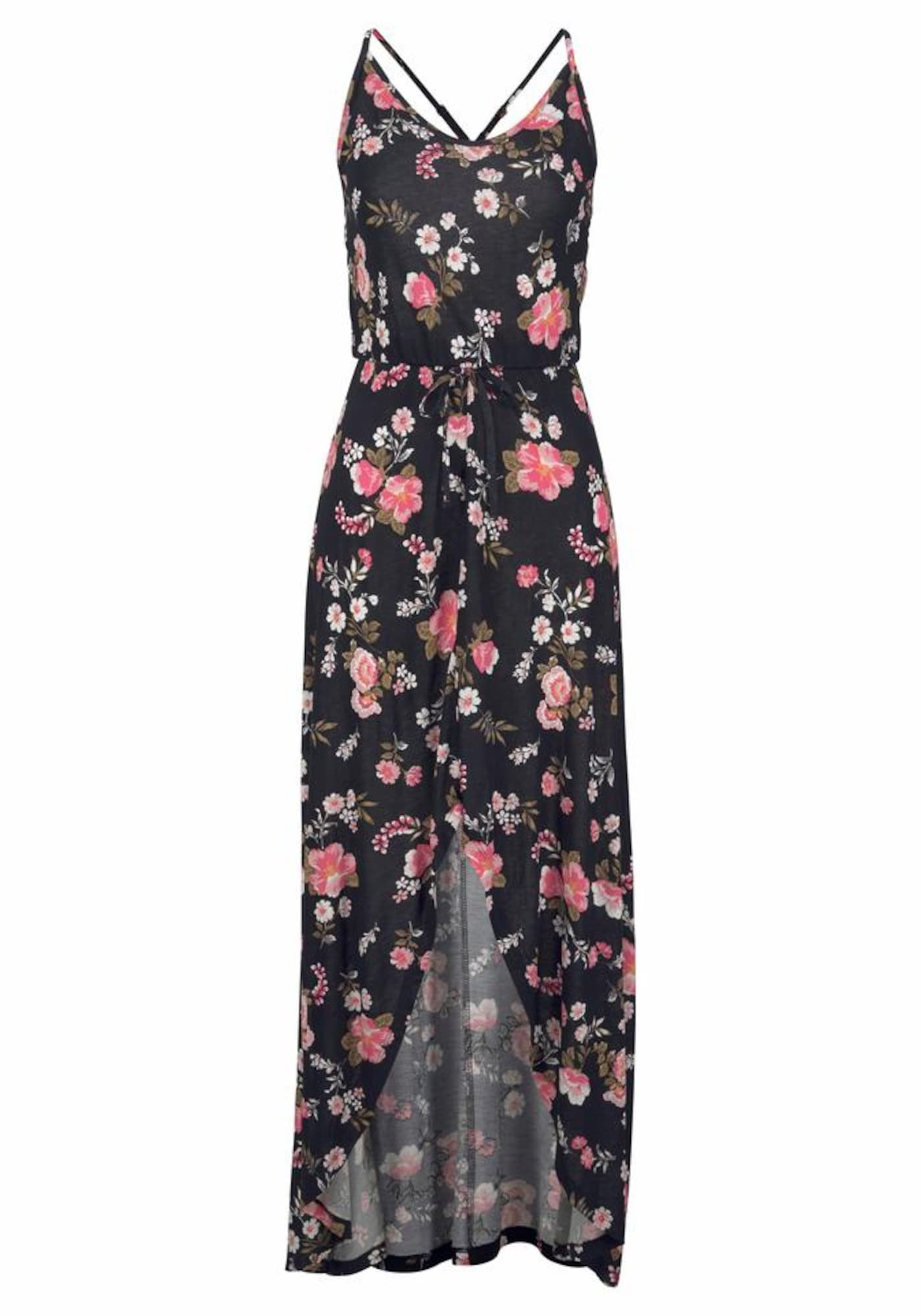 LASCANA Vasarinė suknelė rožių spalva / juoda