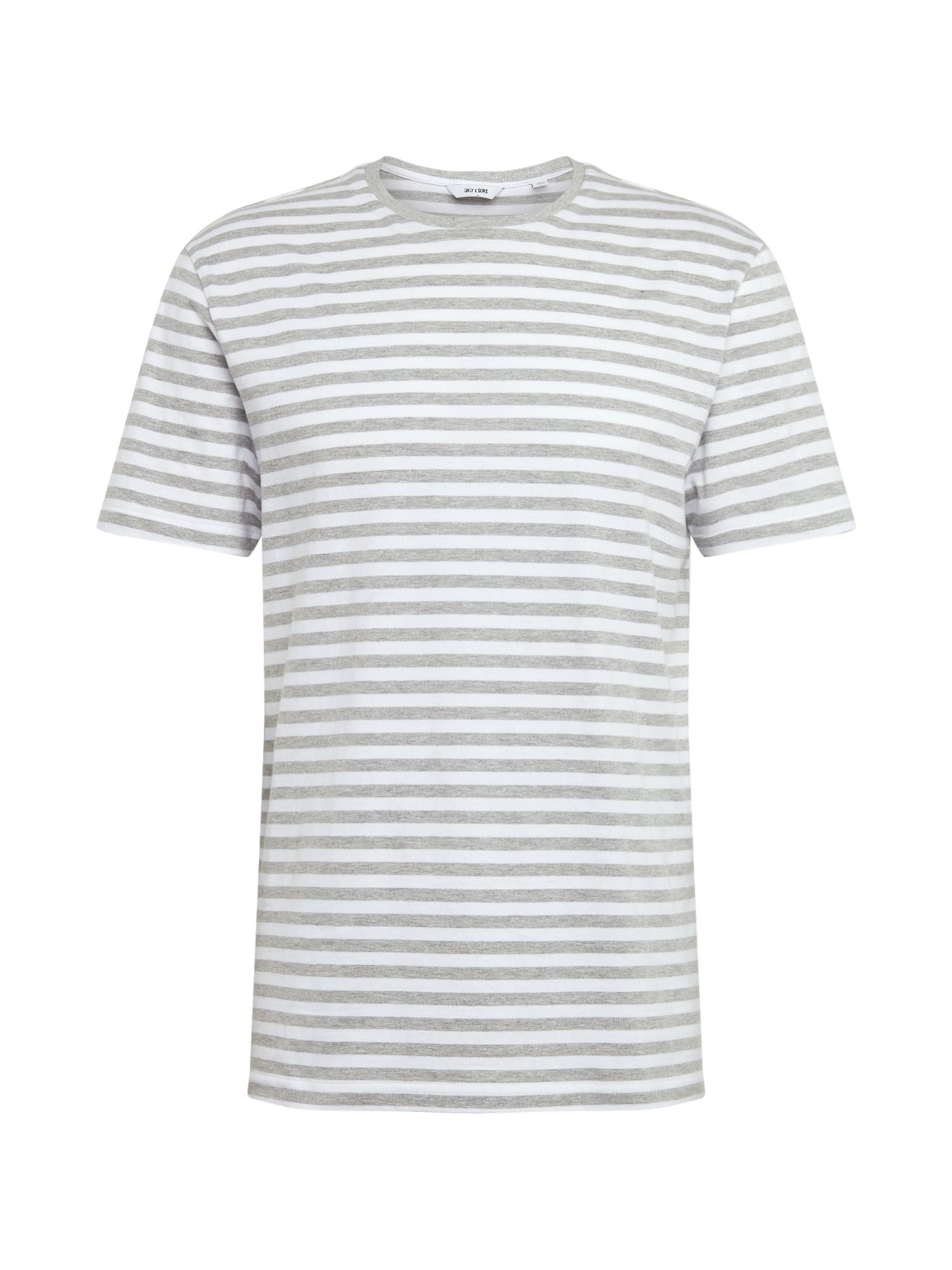 Only & Sons Marškinėliai balta / margai pilka