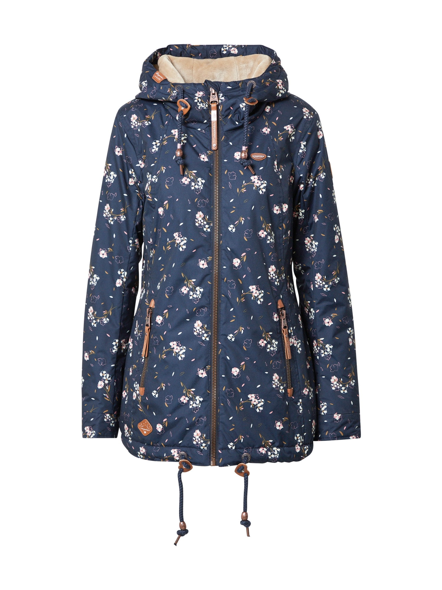 Ragwear Zimná bunda 'ZUZKA FLOWERS'  pastelovo ružová / námornícka modrá / biela