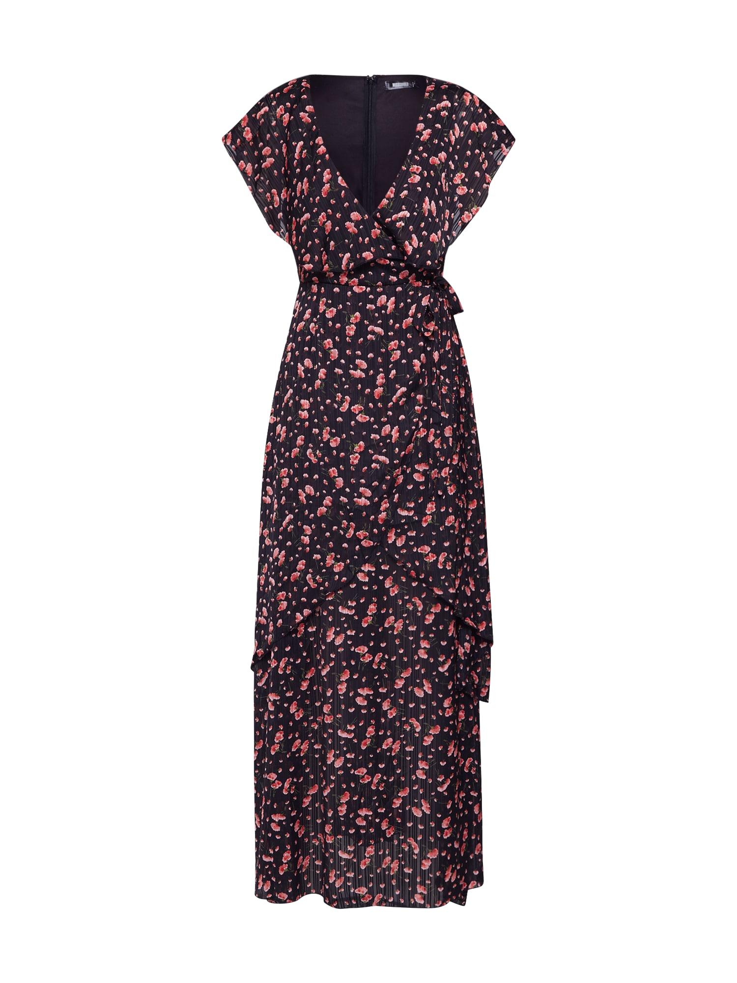 Missguided Rochie 'Floral Plunge Wrap Ruffle High Low Dress'  roșu / negru