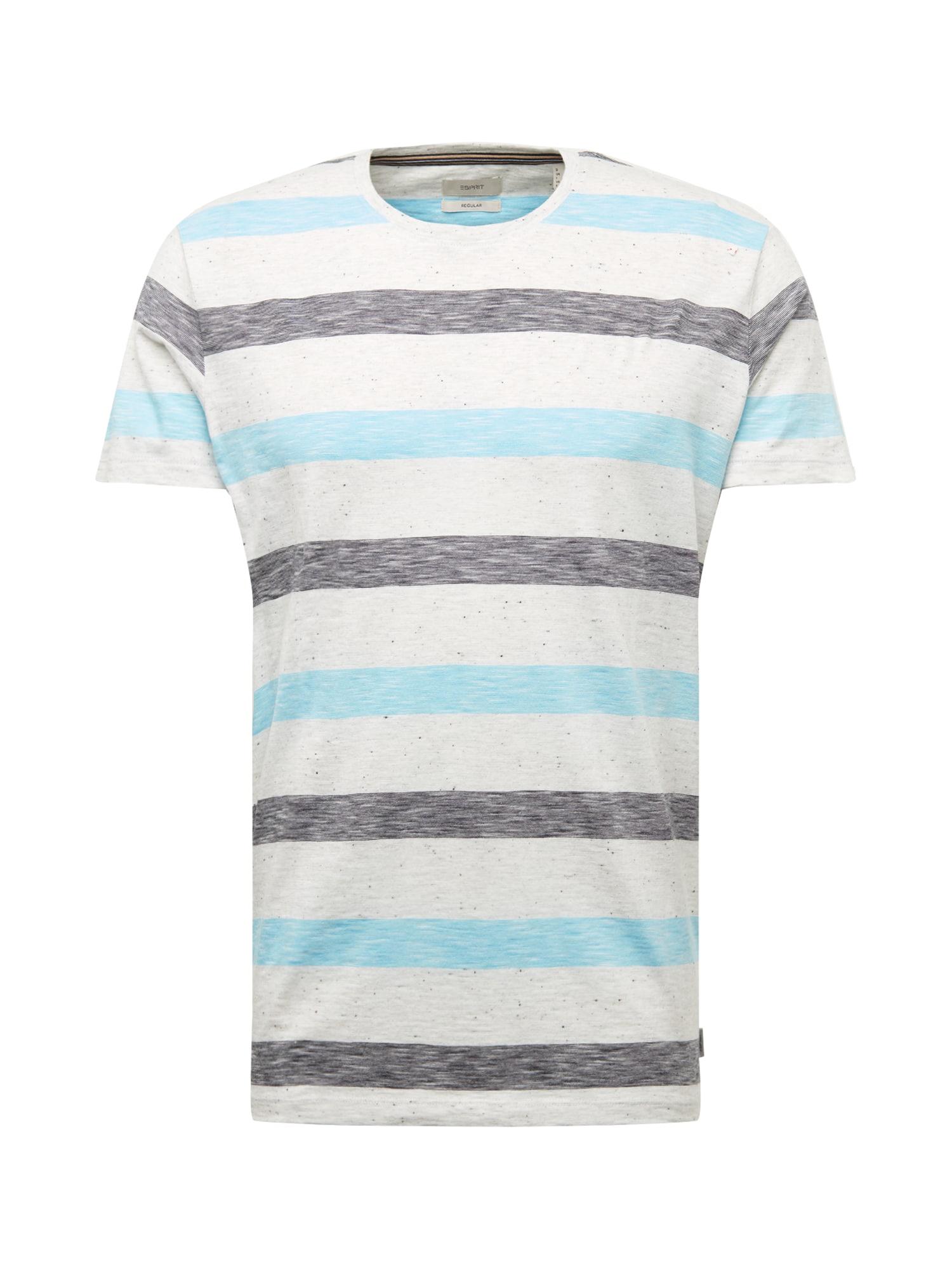 ESPRIT Marškinėliai tamsiai mėlyna / balta / pilka
