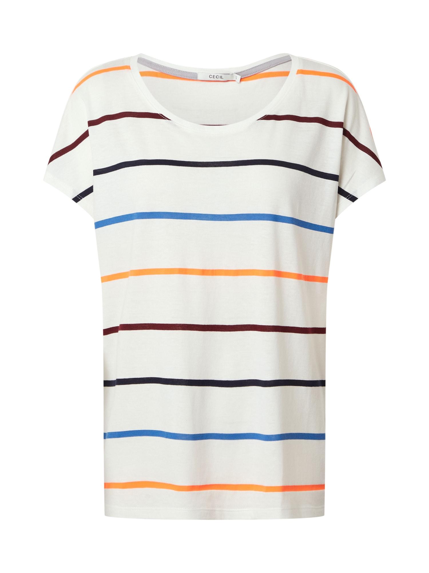 CECIL Marškinėliai tamsiai violetinė / balta / raudona / mėlyna