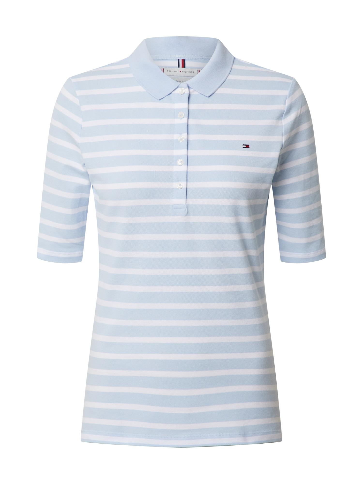 TOMMY HILFIGER Marškinėliai 'AISHA' balta / šviesiai mėlyna