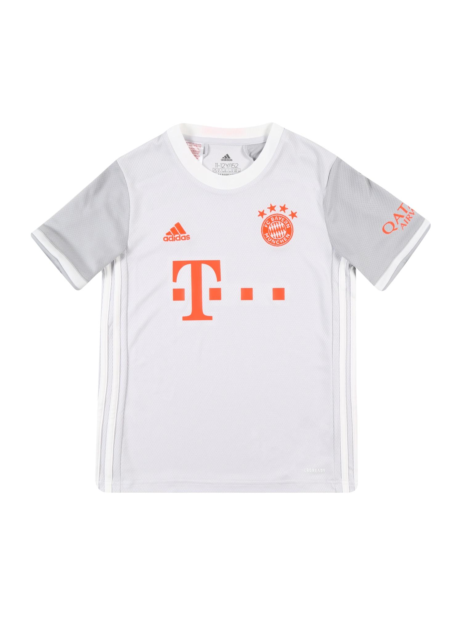 ADIDAS PERFORMANCE Funkční tričko 'FC Bayern 20-21 Auswärts'  světle šedá / šedá / oranžově červená