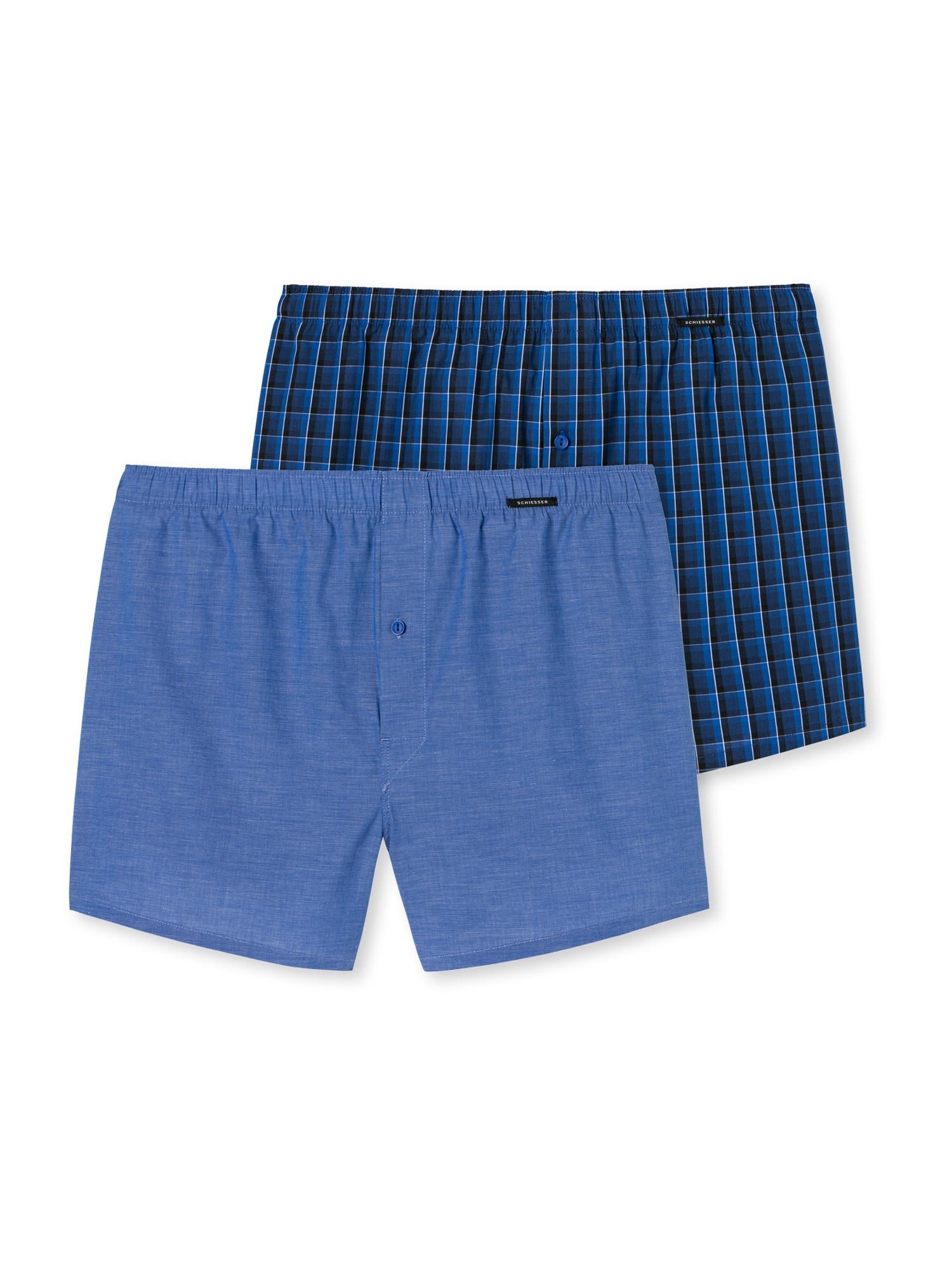 SCHIESSER Boxerky  čierna / modré / svetlomodrá