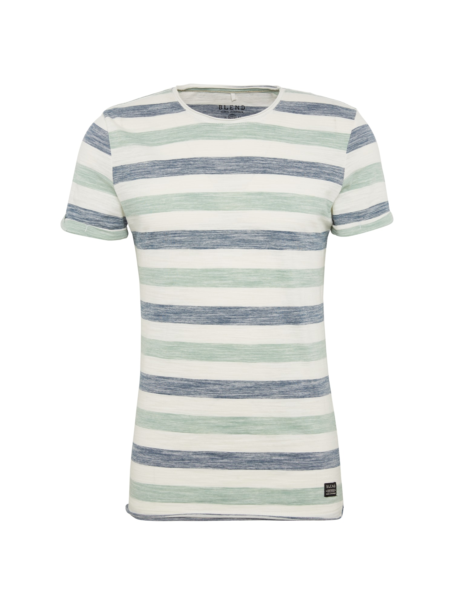 BLEND Marškinėliai melsvai pilka / mėtų spalva / balta