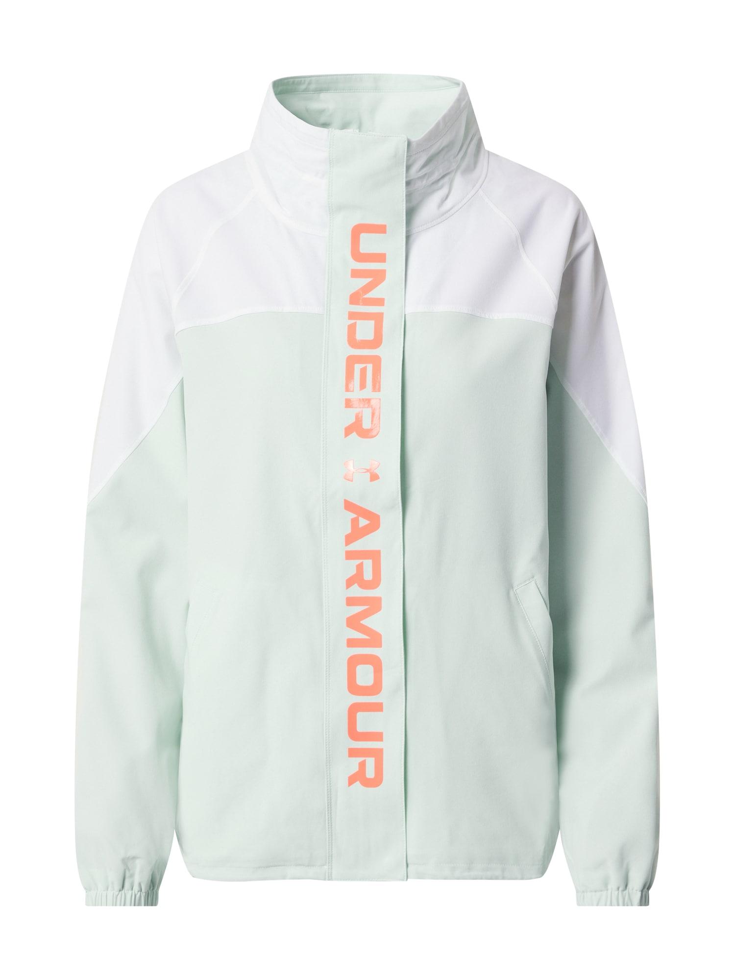UNDER ARMOUR Sportinė striukė 'Recover' balta / pastelinė žalia / tamsiai oranžinė