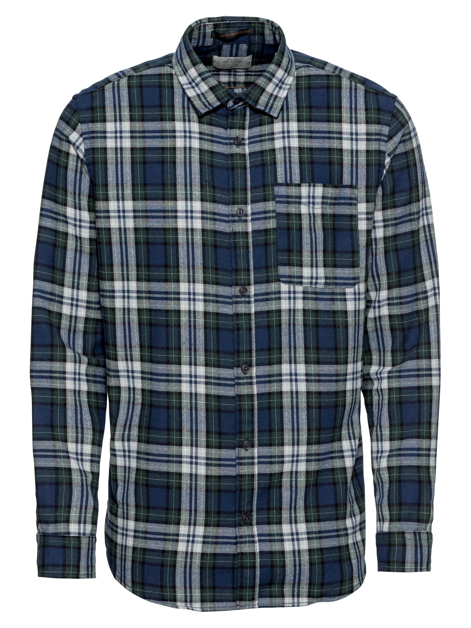 Košile JORSTEVEN SHIRT LS modrá tmavě zelená JACK & JONES