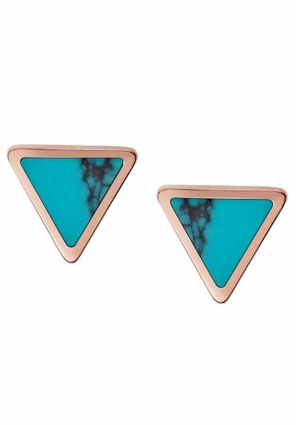 Ohrringe für Frauen - FOSSIL Paar Ohrstecker 'Dreieck, FASHION, JF02638791' türkis rosegold  - Onlineshop ABOUT YOU