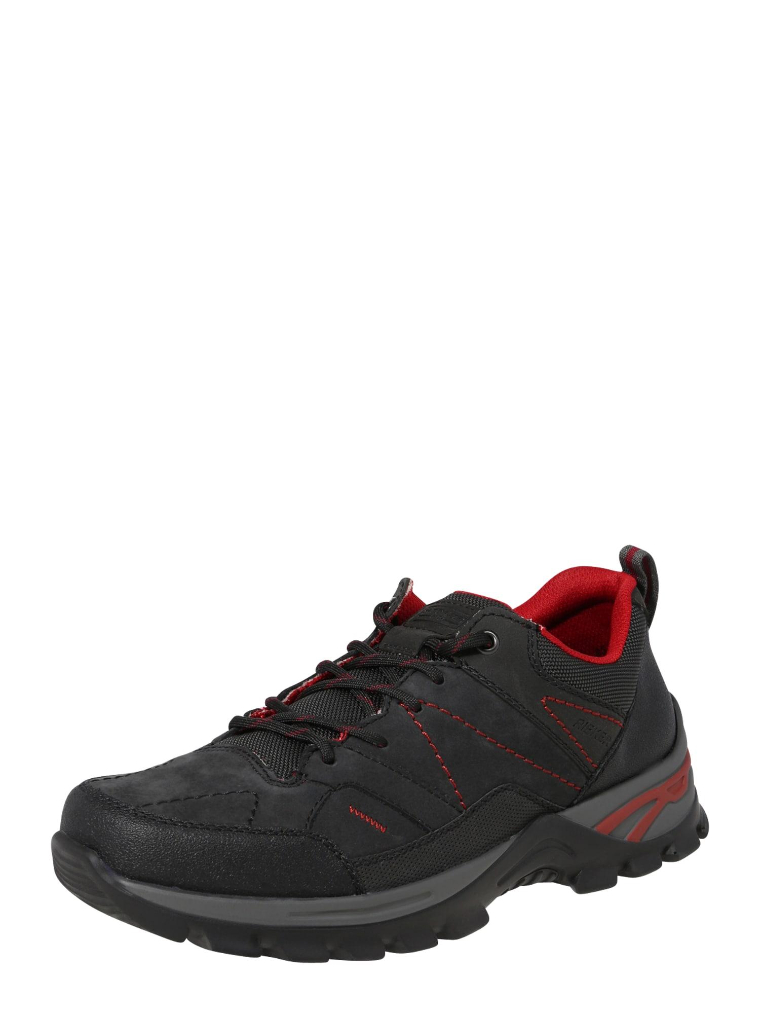 RIEKER Sportinio stiliaus batai su raišteliais tamsiai pilka / margai juoda
