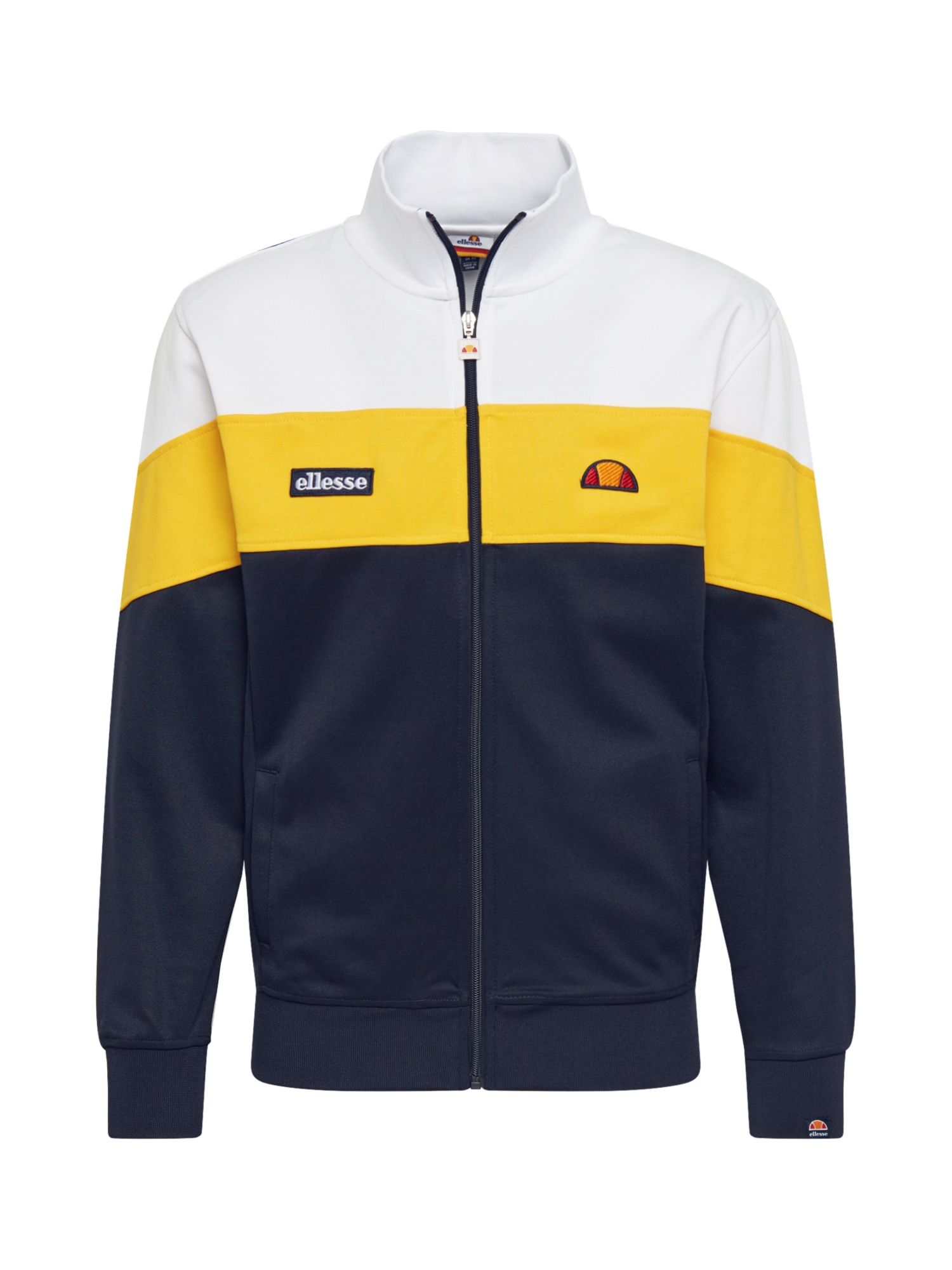 ELLESSE Prechodná bunda 'Caprini'  biela / žlté / čierna / tmavomodrá
