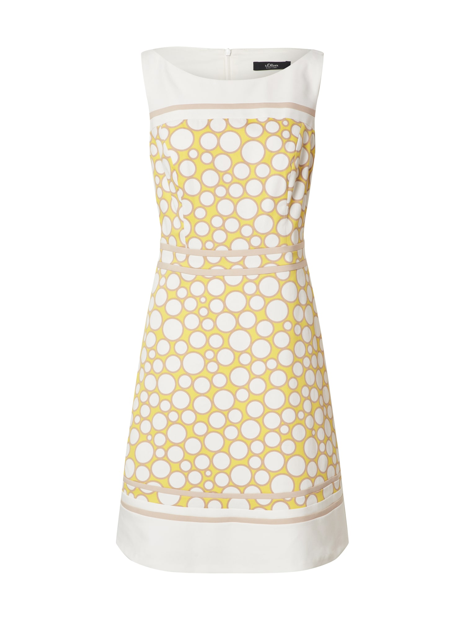 s.Oliver BLACK LABEL Kokteilinė suknelė balta / geltona