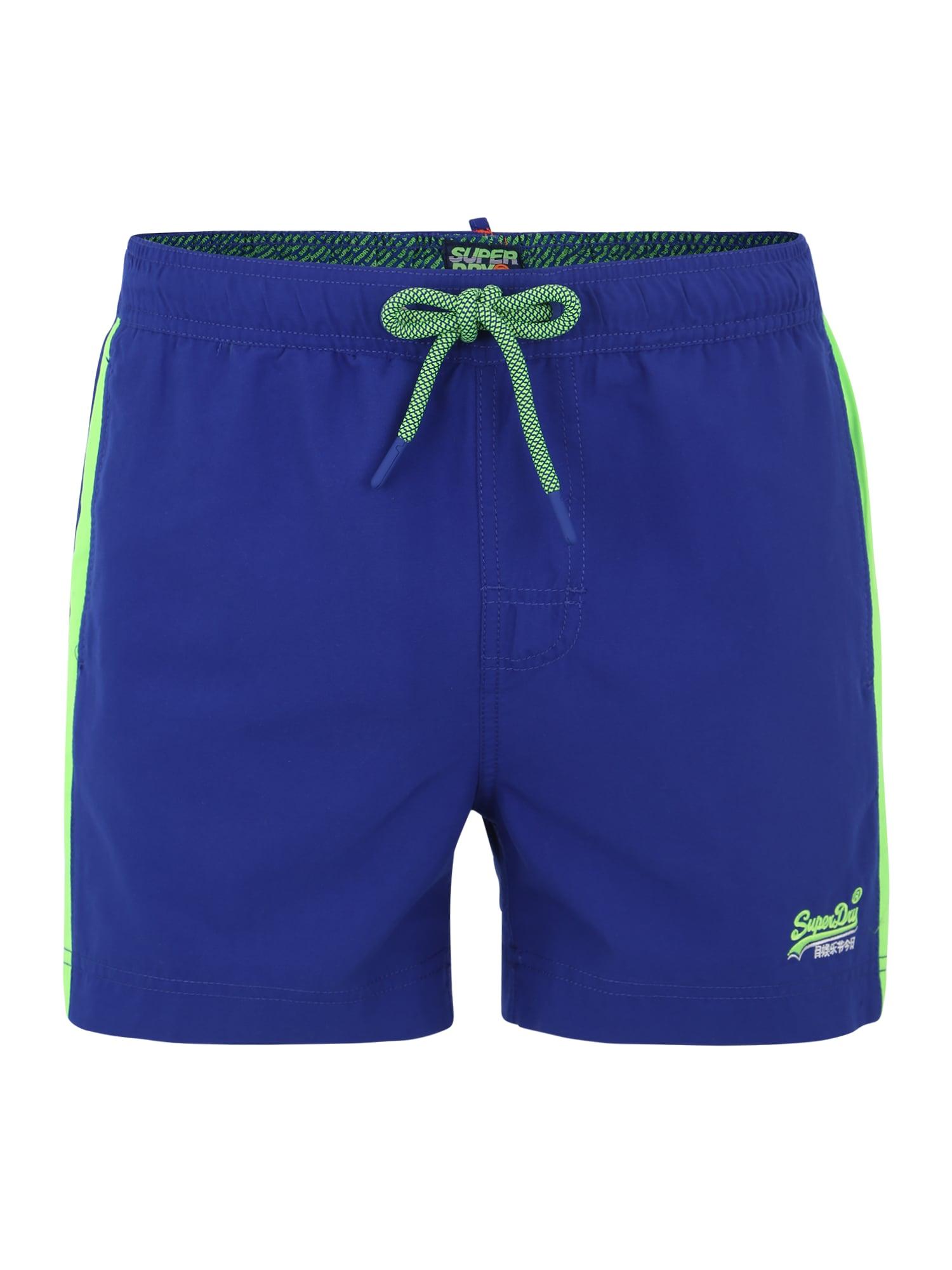 Plavecké šortky modrá světle zelená Superdry