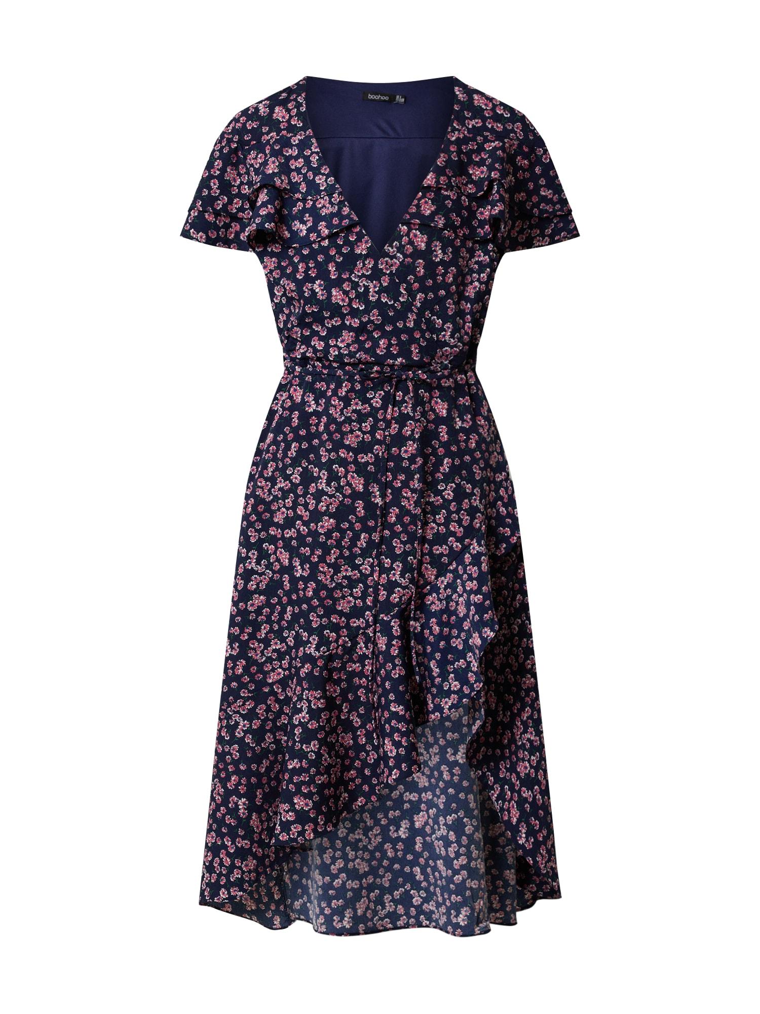Boohoo Vasarinė suknelė tamsiai mėlyna / rožinė