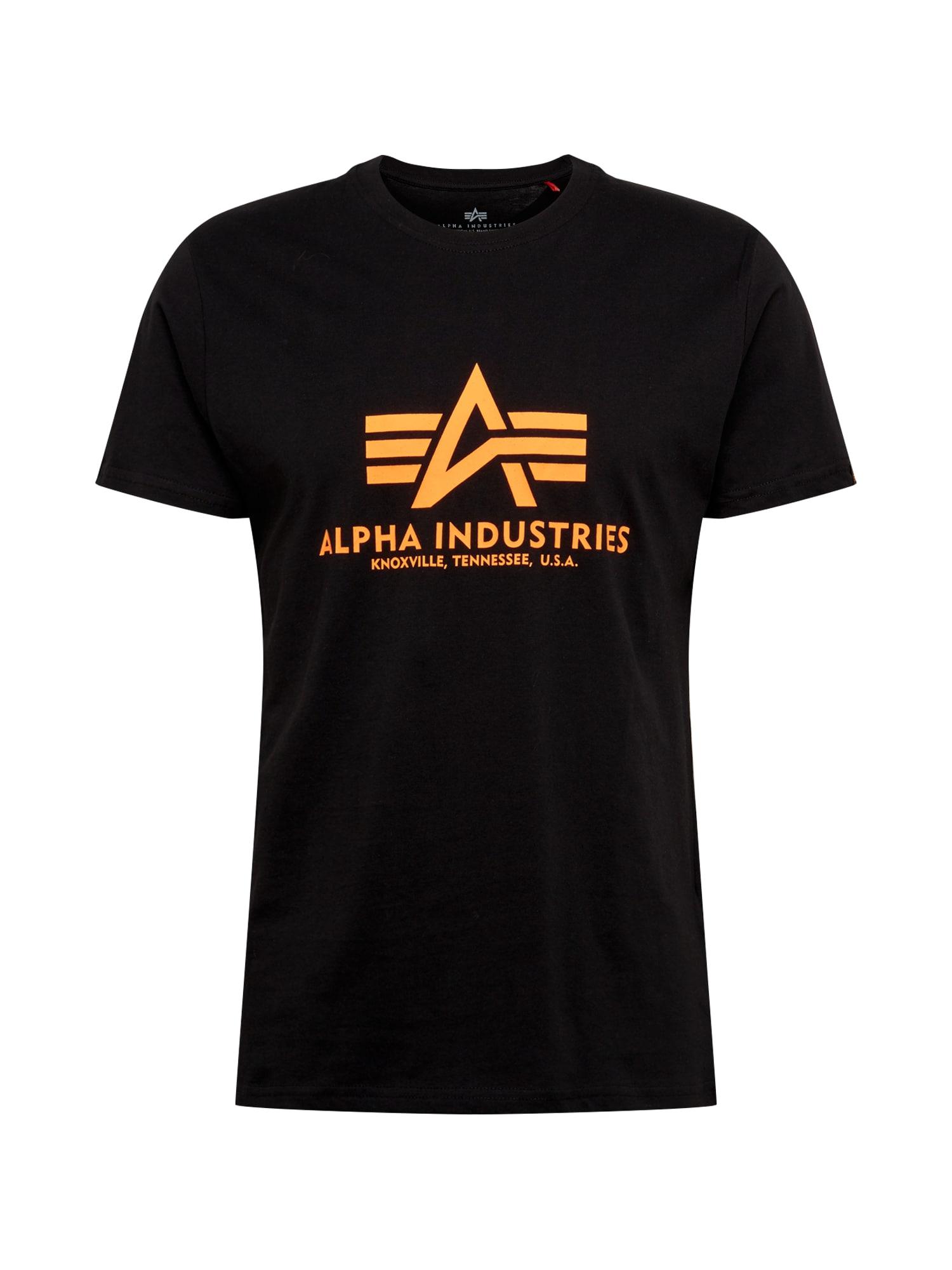 ALPHA INDUSTRIES Marškinėliai neoninė oranžinė / juoda