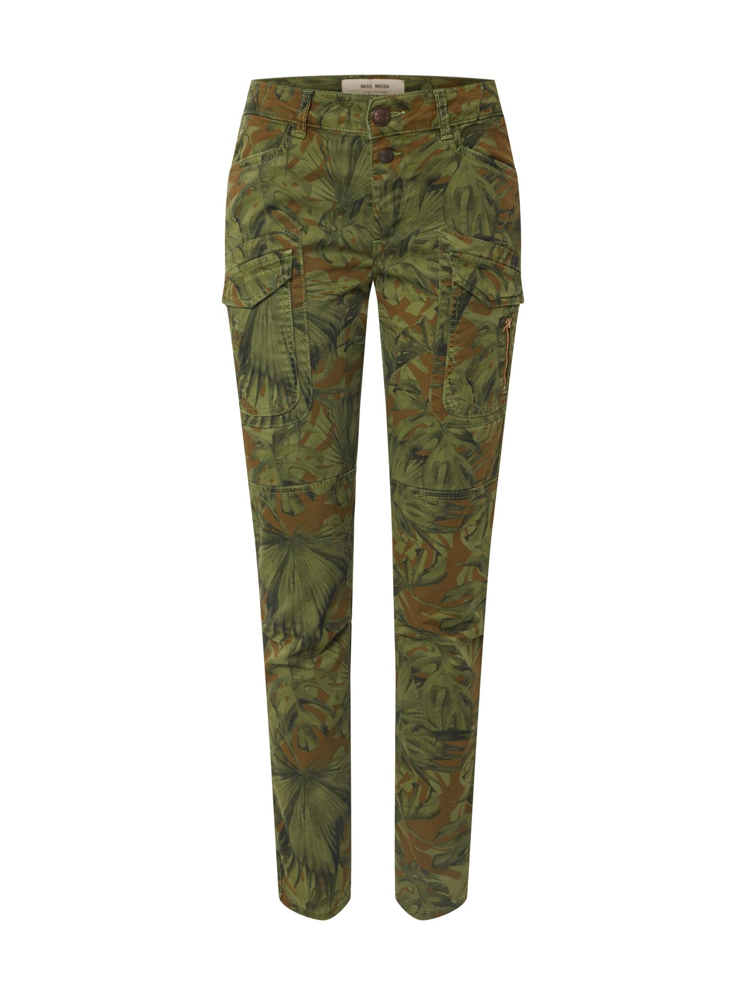 MOS MOSH Laisvo stiliaus kelnės 'Hurley ' mišrios spalvos / tamsiai žalia