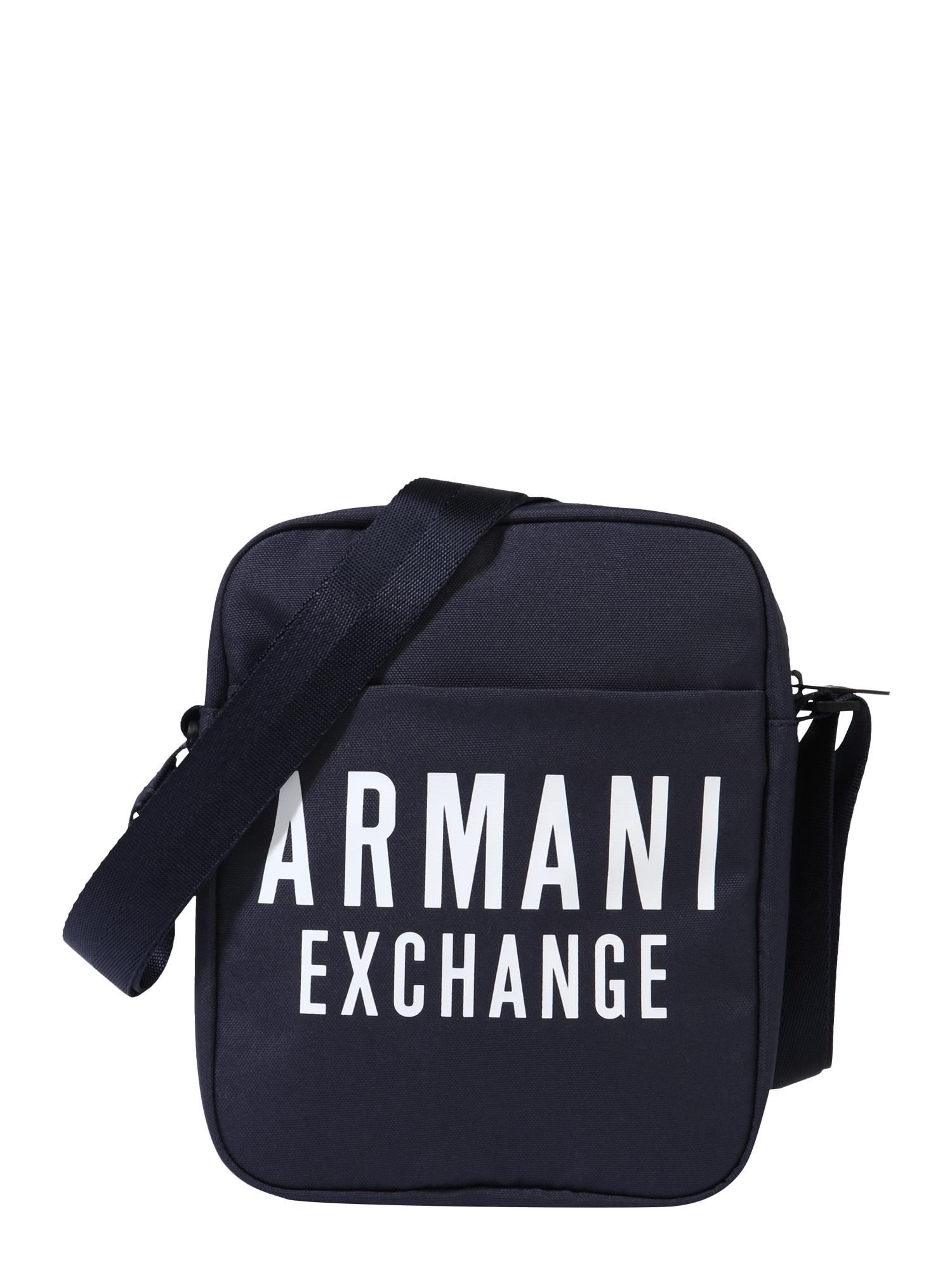ARMANI EXCHANGE Rankinė su ilgu dirželiu tamsiai mėlyna / balta