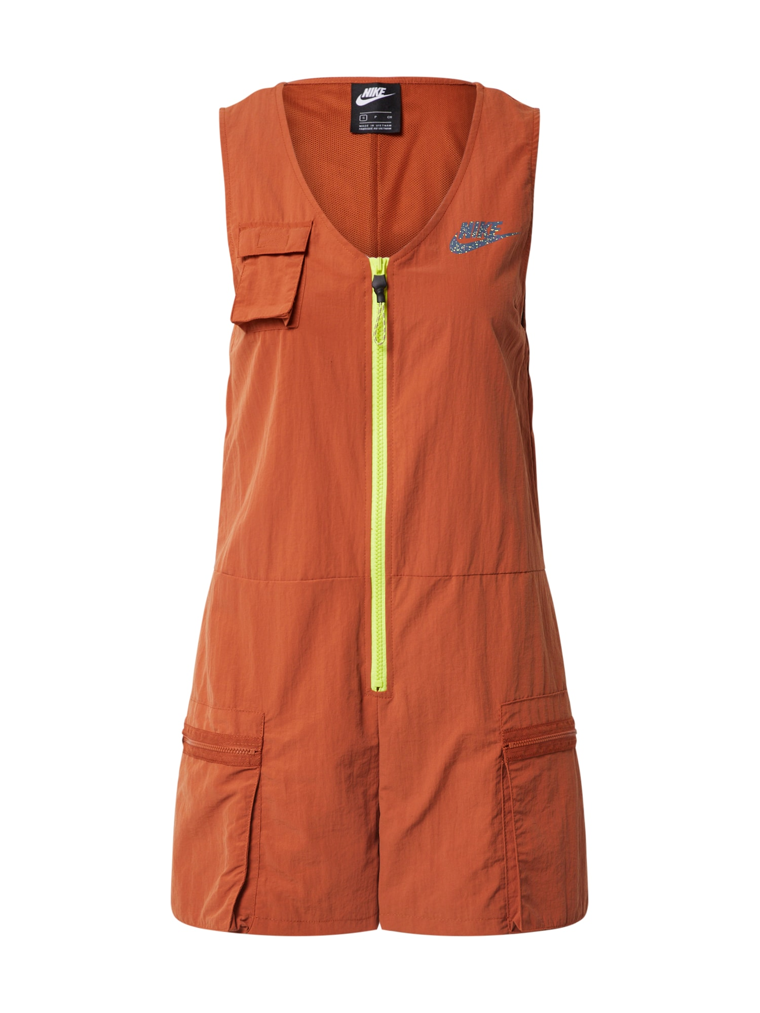 Nike Sportswear Overal 'W NSW ICN CLSH ROMPER'  limetková / oranžová