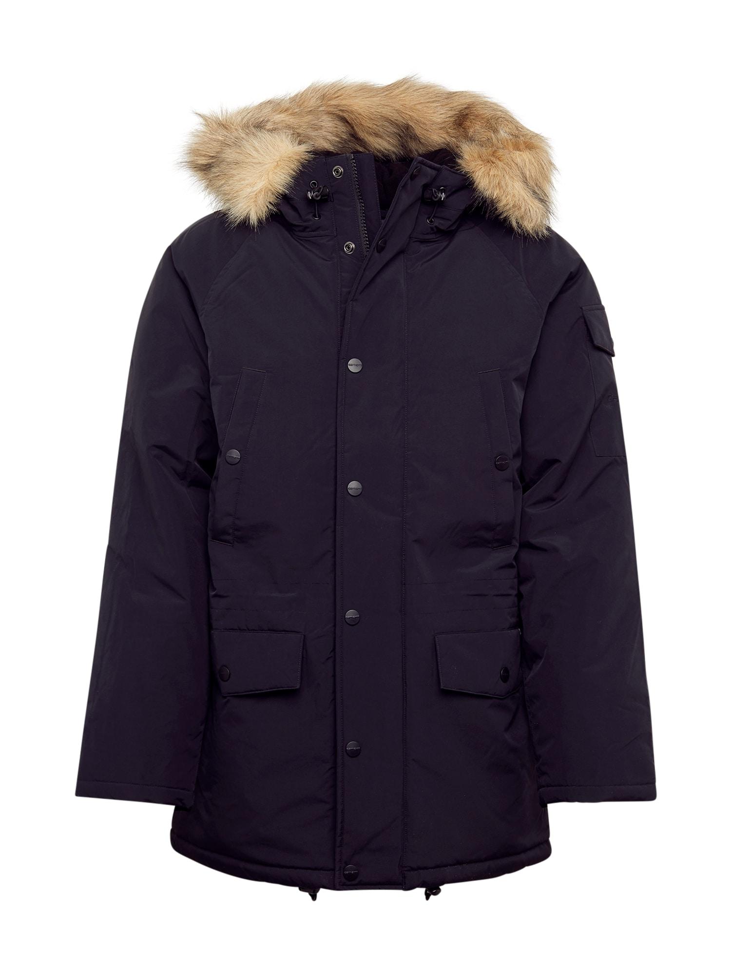 Carhartt WIP Ilga rudeninė-žieminė striukė 'Anchorage Parka' juoda / marga smėlio spalva