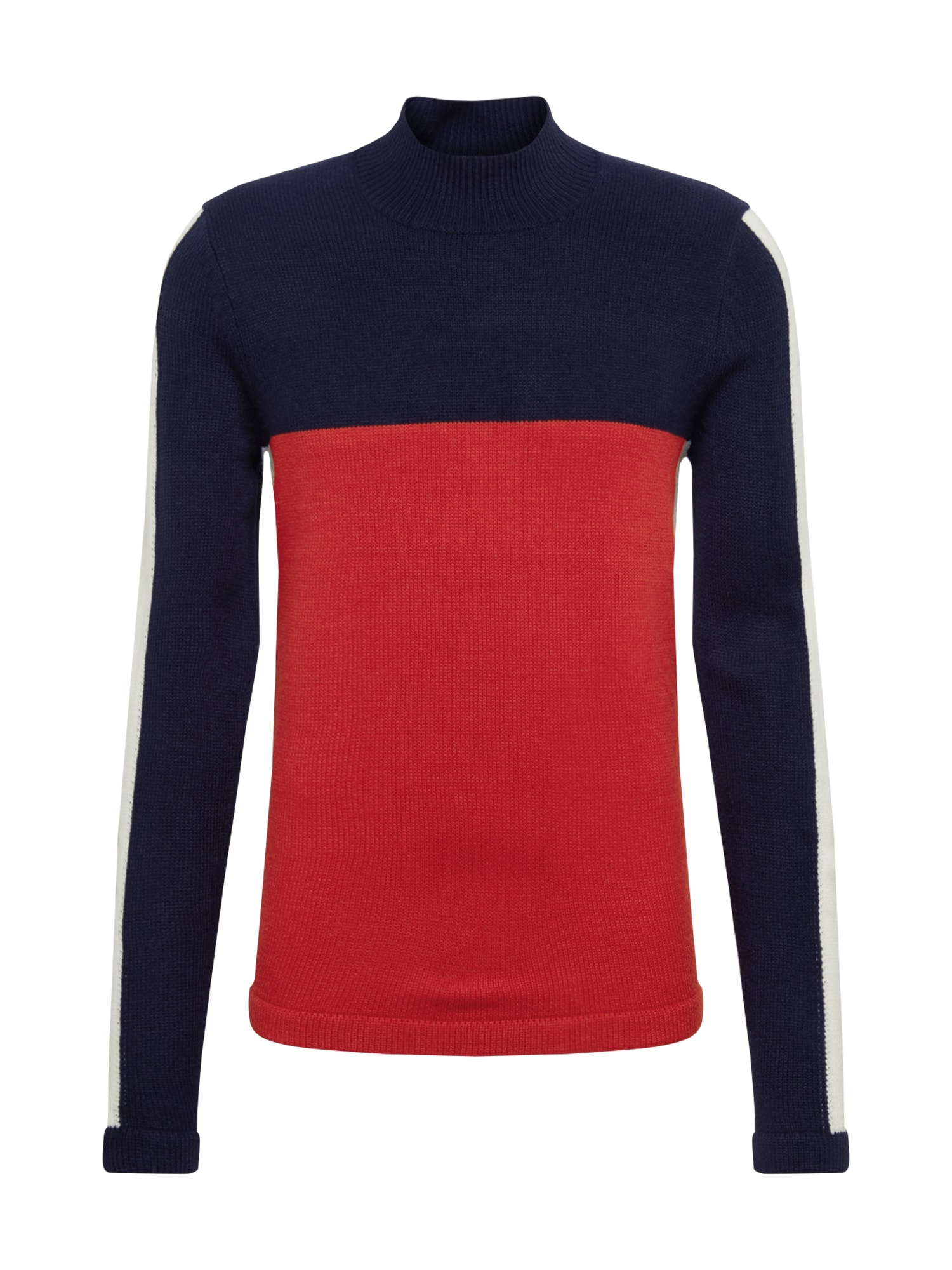 Only & Sons Megztinis 'ONSZAYN 5 COLORBLOCK HIGH NECK KNIT' tamsiai mėlyna / raudona