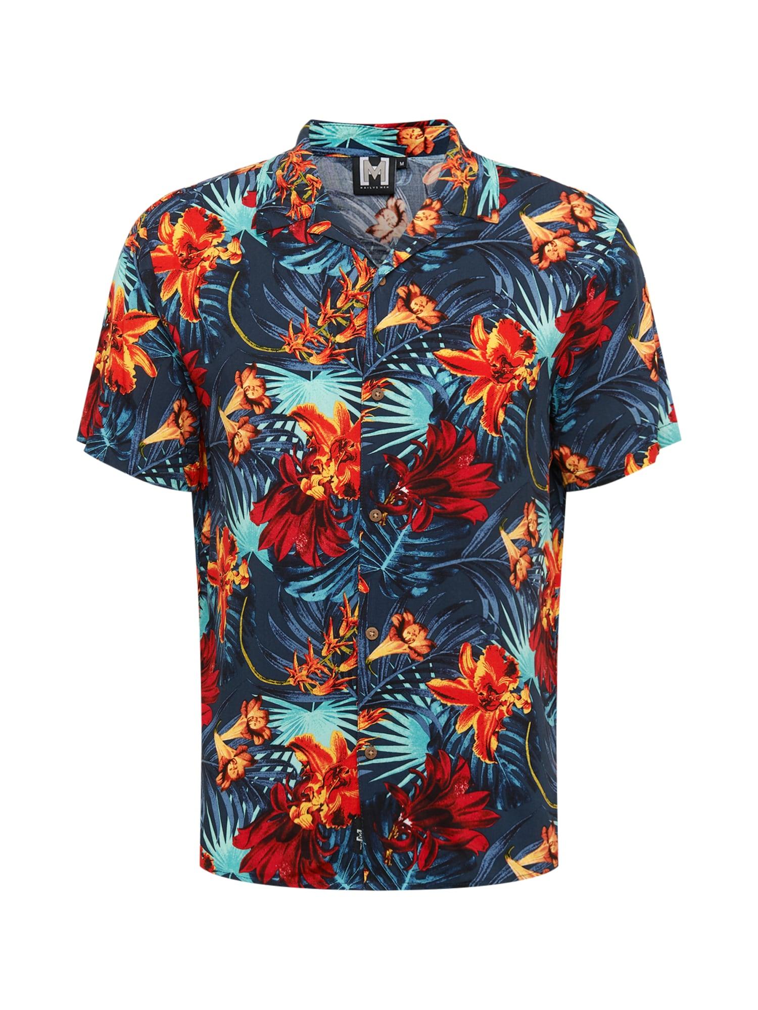 Hailys Men Cămașă 'Hawaii 2'  albastru închis / aqua / roșu deschis