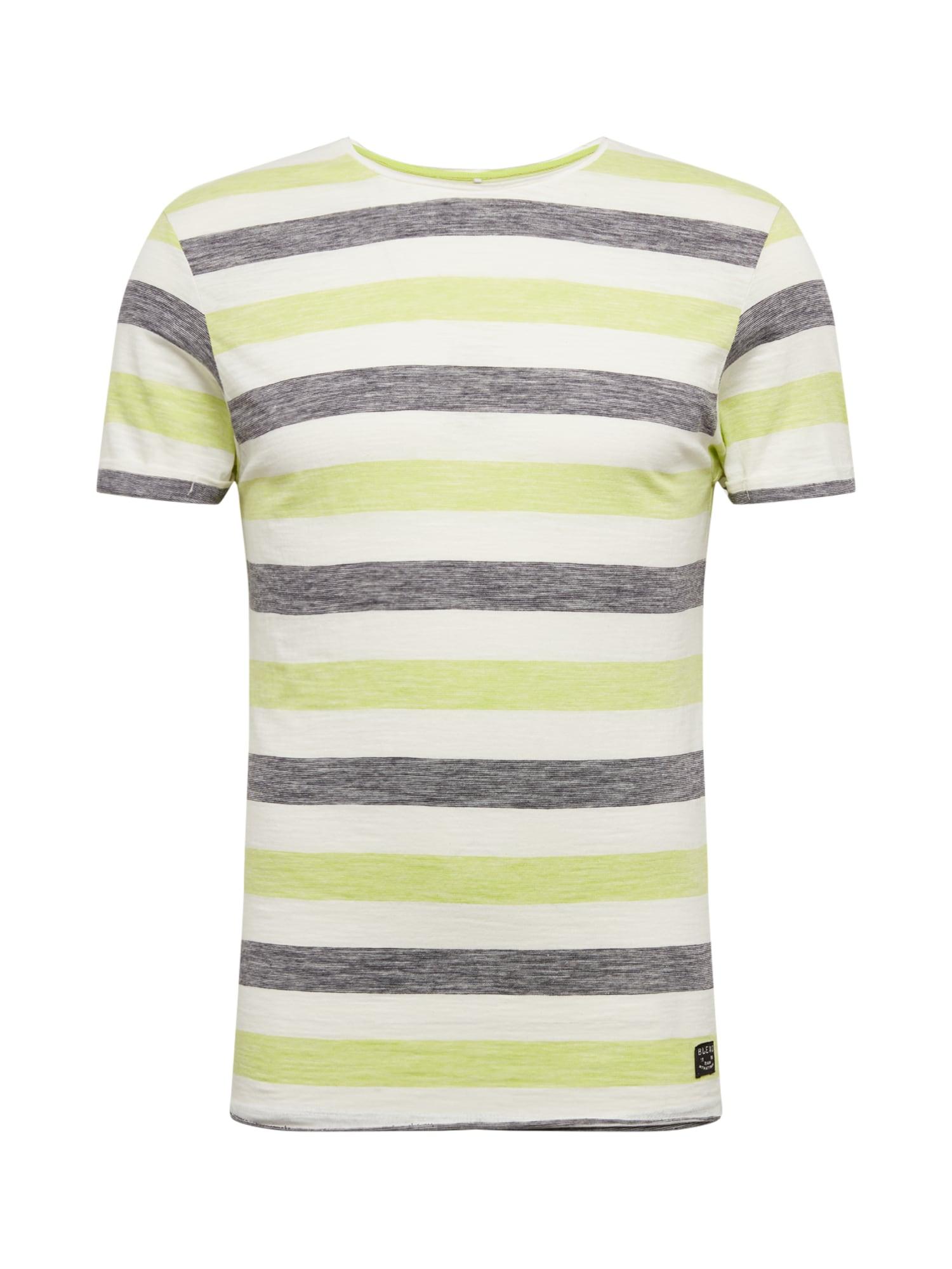 BLEND Marškinėliai žaliosios citrinos spalva / pilka / smėlio