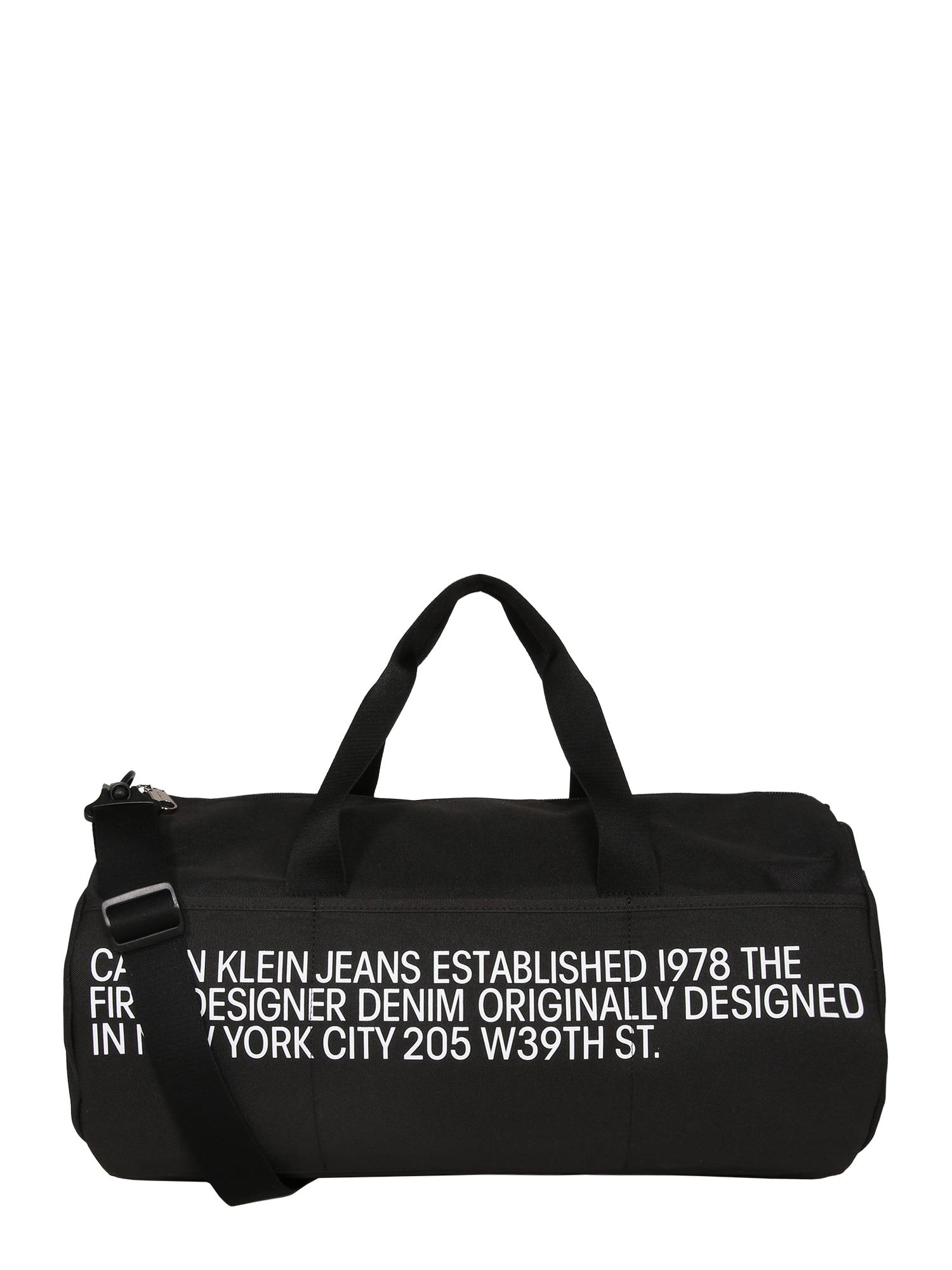 Calvin Klein Jeans Savaitgalio krepšys 'BARREL' juoda