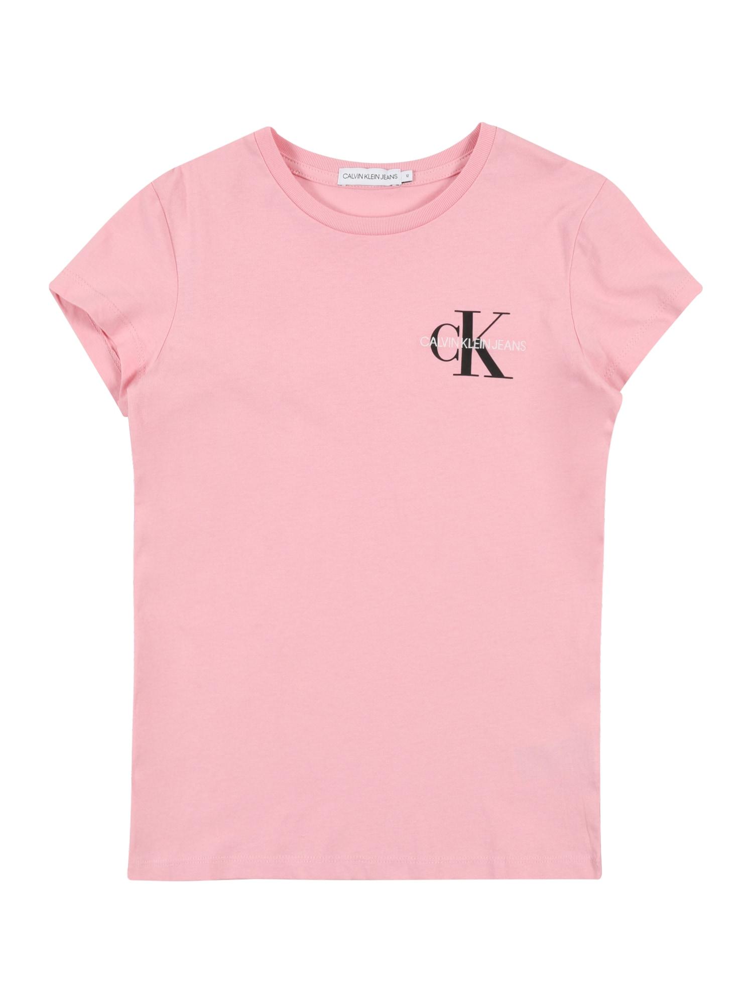 Calvin Klein Jeans Tričko  růžová / černá / bílá